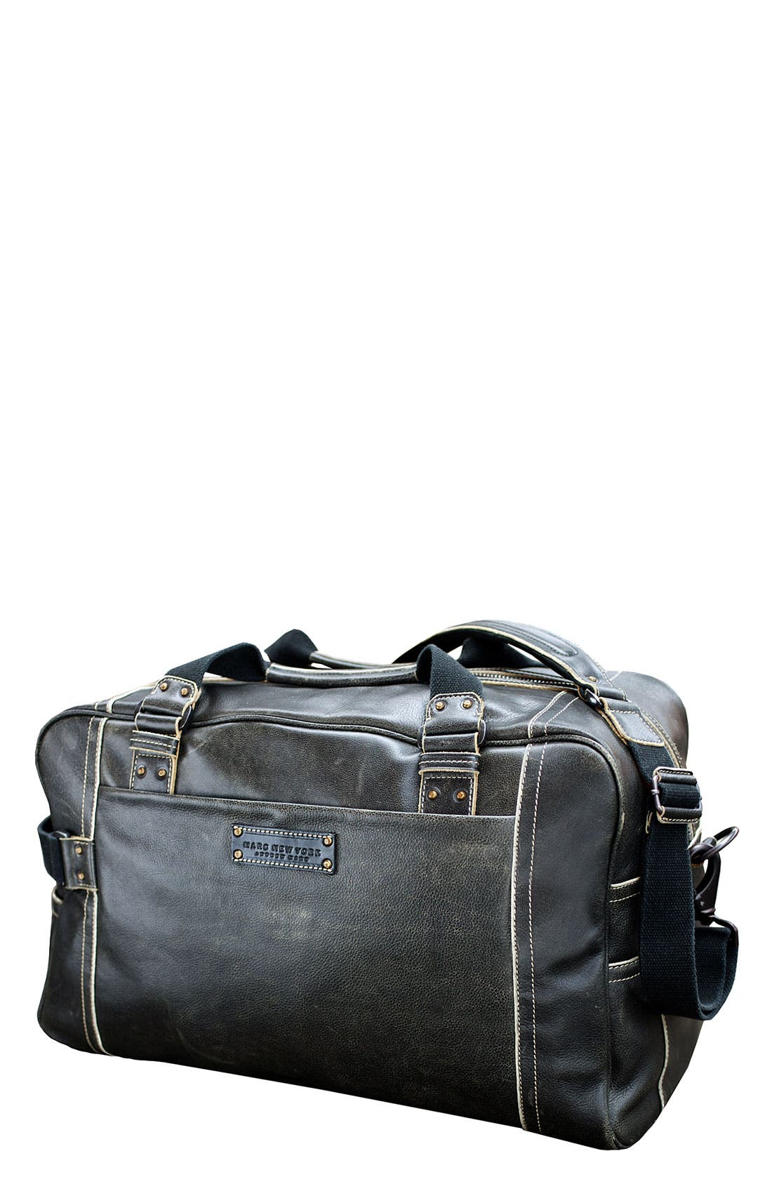 MARC NEW YORK, by Andrew Marc Vintage Leather Weekend Duffel Bag, Main thumbnail 1, color, 001