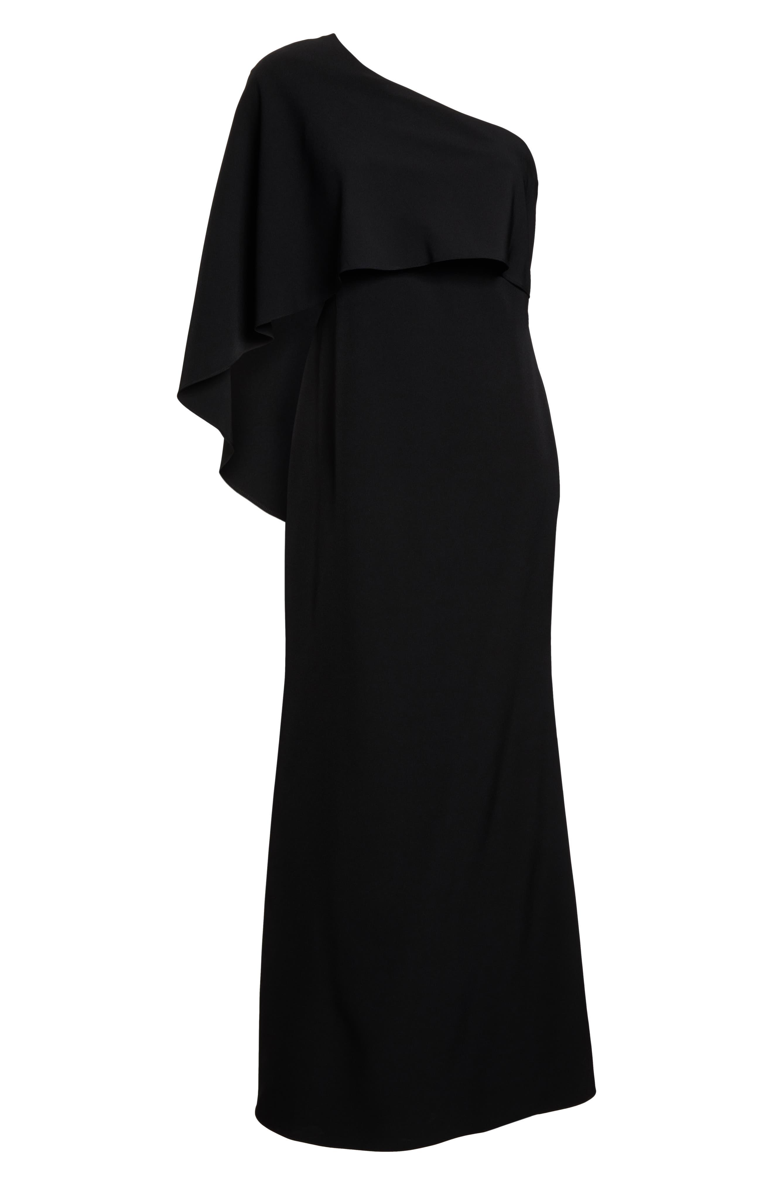 VINCE CAMUTO, One-Shoulder Cape Evening Dress, Alternate thumbnail 7, color, BLACK