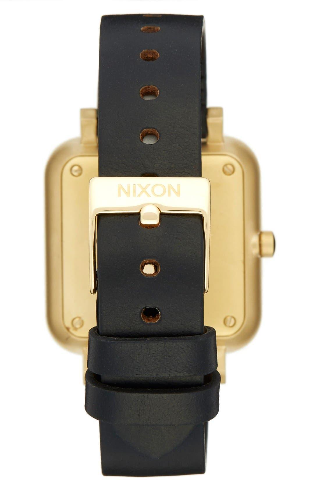 NIXON, 'Ragnar' Leather Strap Watch, 36mm, Alternate thumbnail 2, color, 001