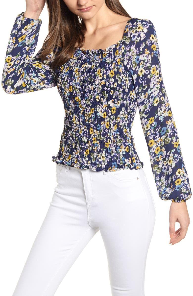 Cupcakes And Cashmere Tops CONFETTI BLOOMS SMOCKED BLOUSE