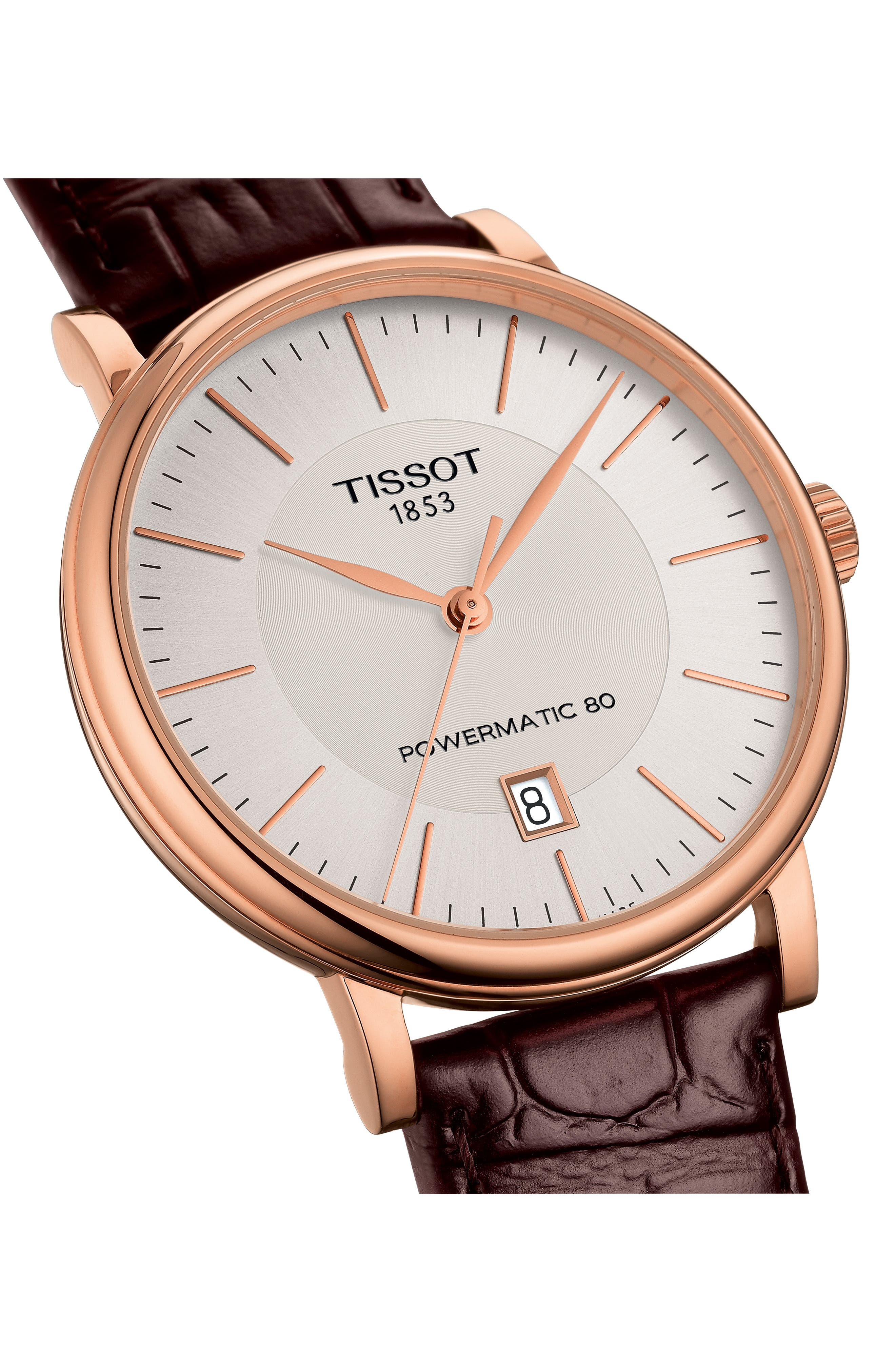 TISSOT, Premium Carson Powermatic 80 Leather Strap Watch, 40mm, Alternate thumbnail 3, color, BROWN/ SILVER/ ROSE GOLD