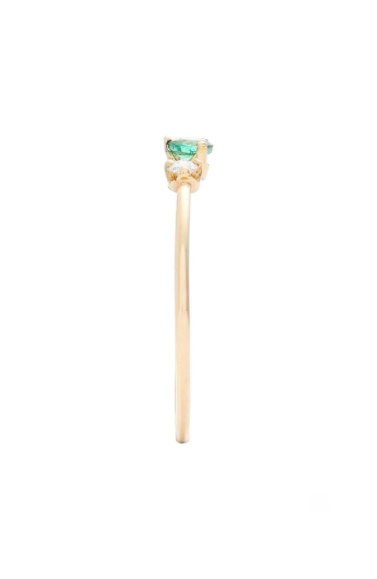 ZOË CHICCO, Emerald & Diamond Stack Ring, Alternate thumbnail 2, color, YELLOW GOLD/ EMERALD