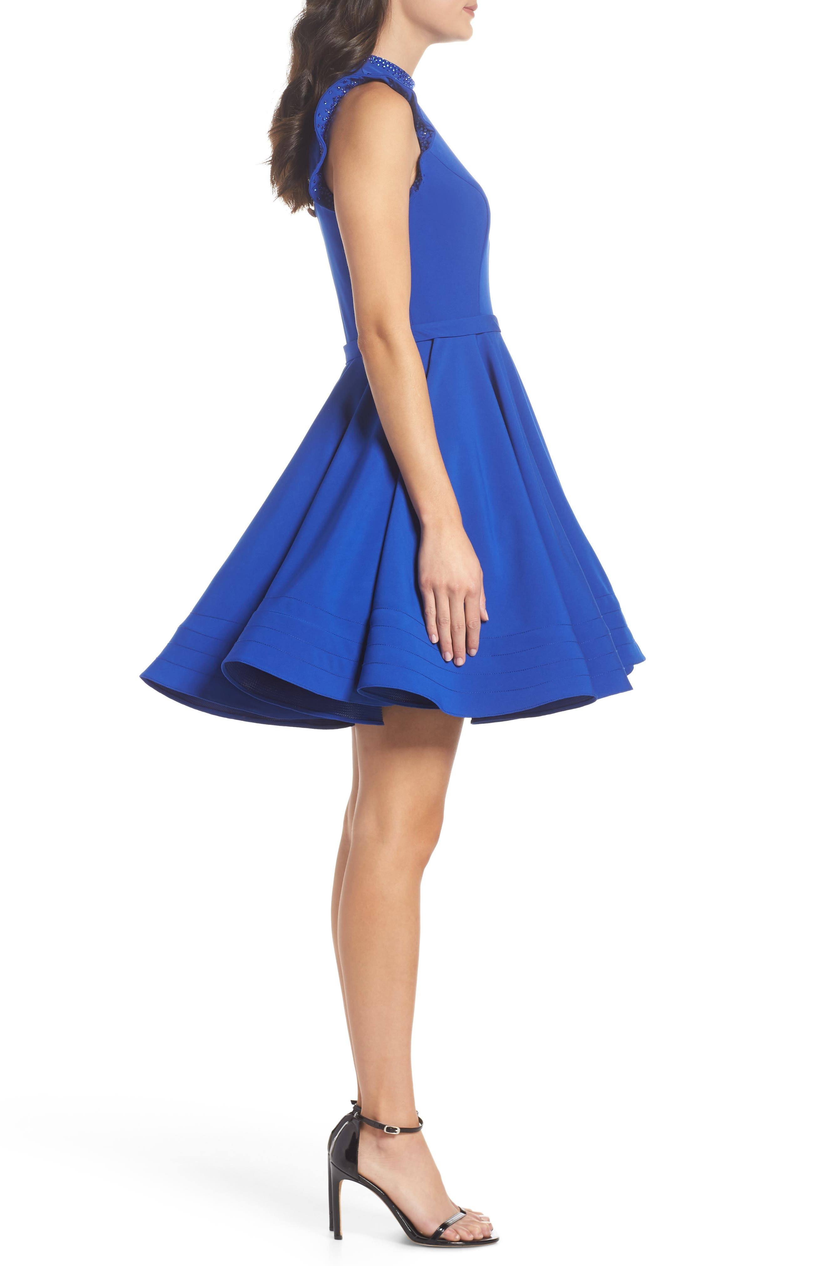 IEENA FOR MAC DUGGAL, Mac Duggal Embellished Ruffle Fit & Flare Dress, Alternate thumbnail 4, color, ROYAL