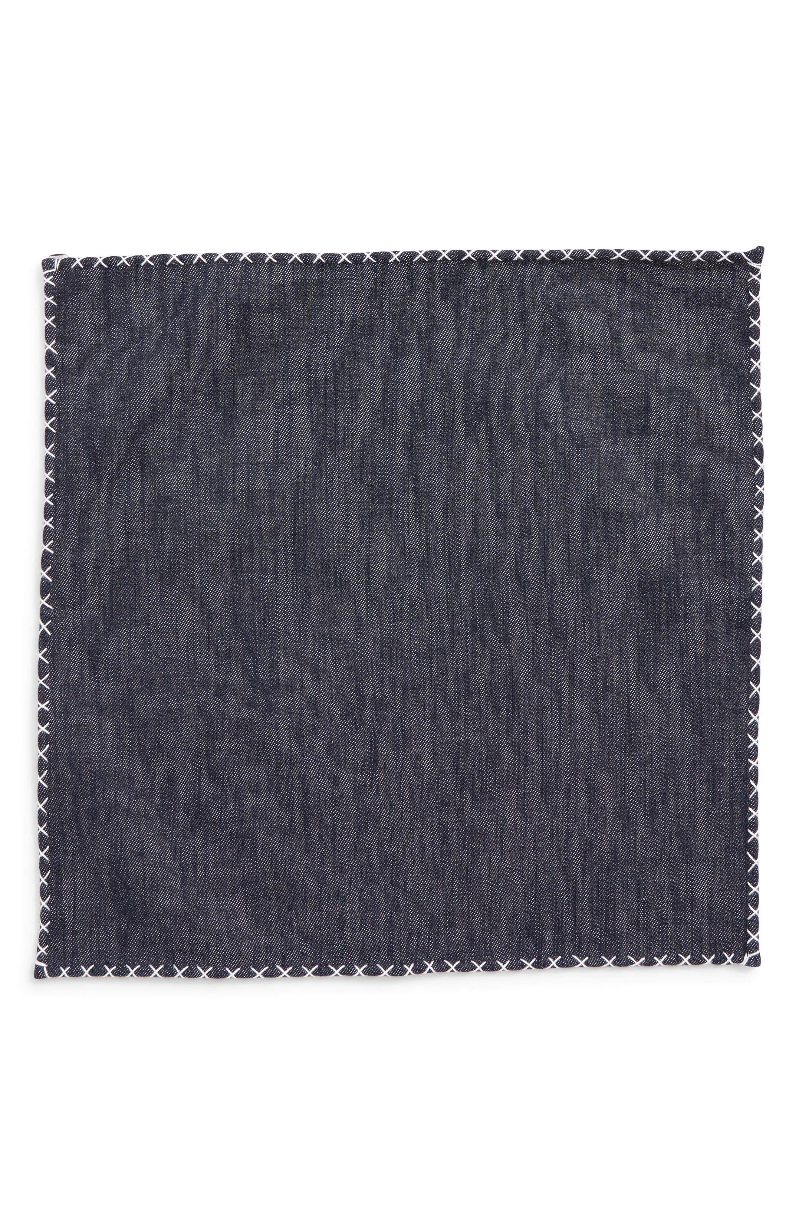 ELEVENTY, Denim Cotton Pocket Square, Alternate thumbnail 2, color, DENIM/ WHITE