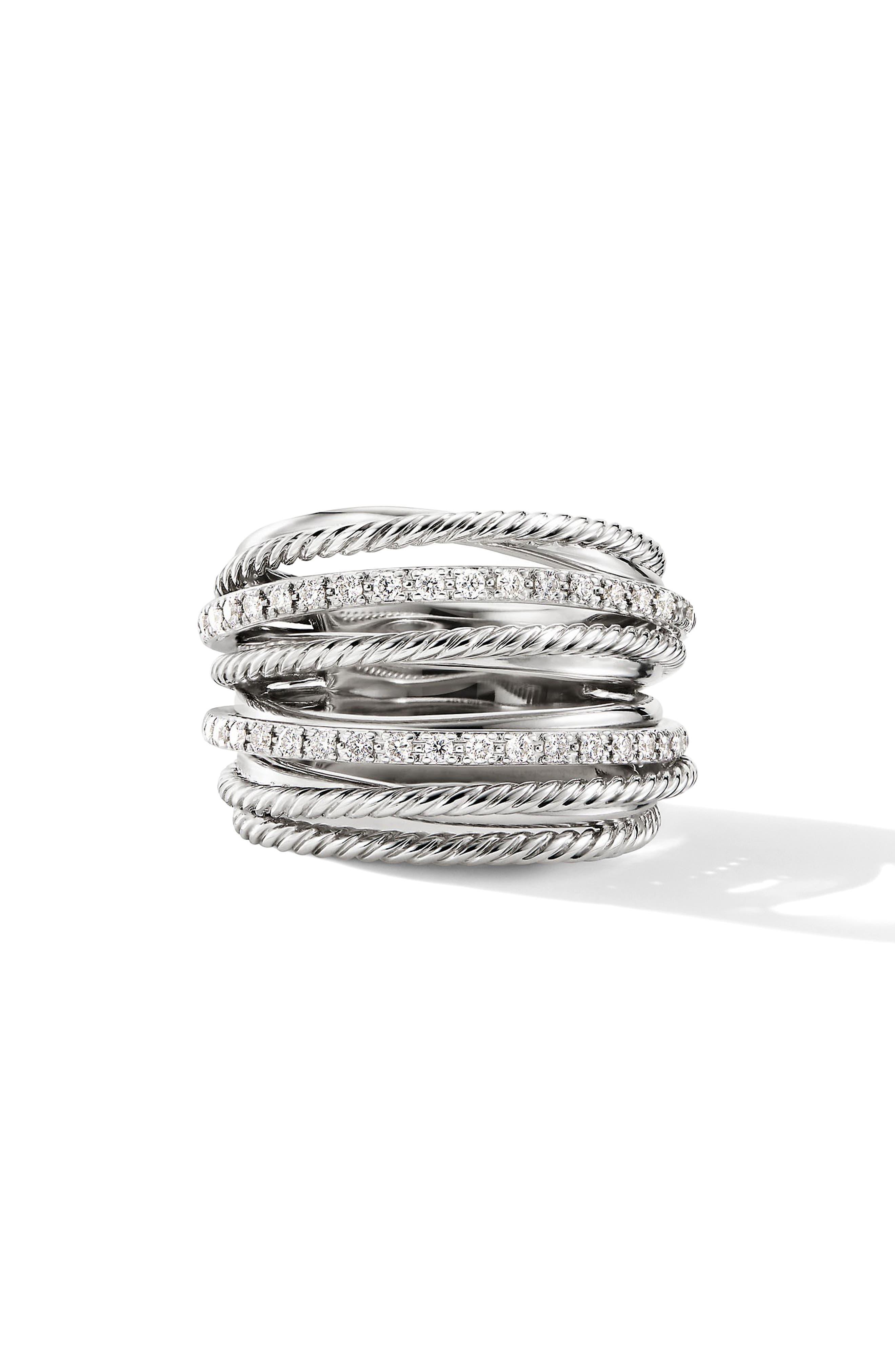 DAVID YURMAN, Wide Crossover Pavé Diamond Ring, Main thumbnail 1, color, SILVER/ DIAMOND