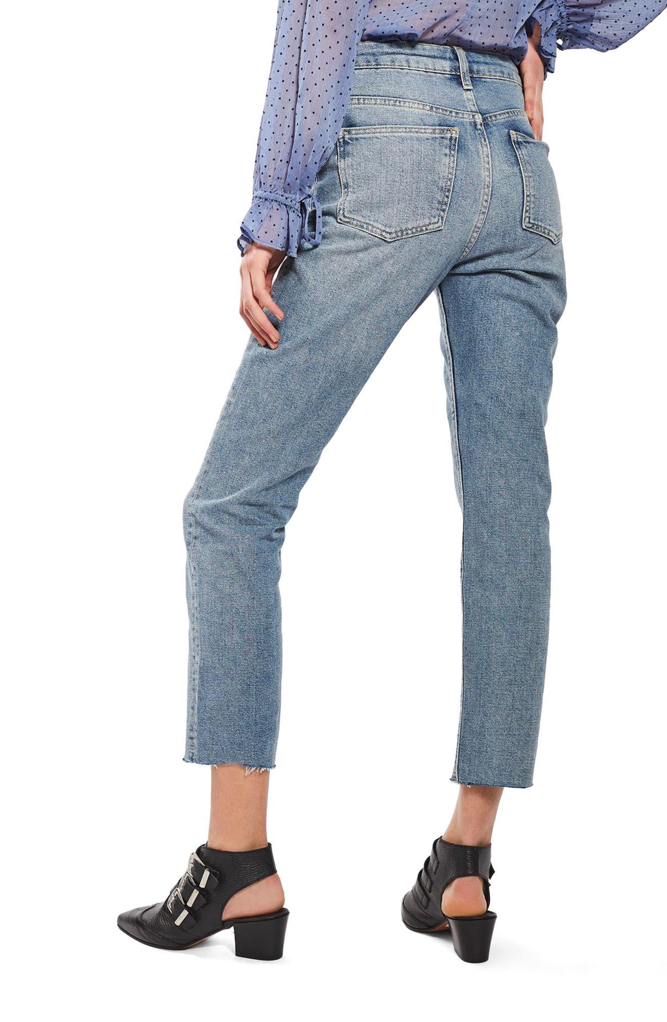 TOPSHOP, Moto Raw Hem Straight Leg Jeans, Alternate thumbnail 2, color, 420