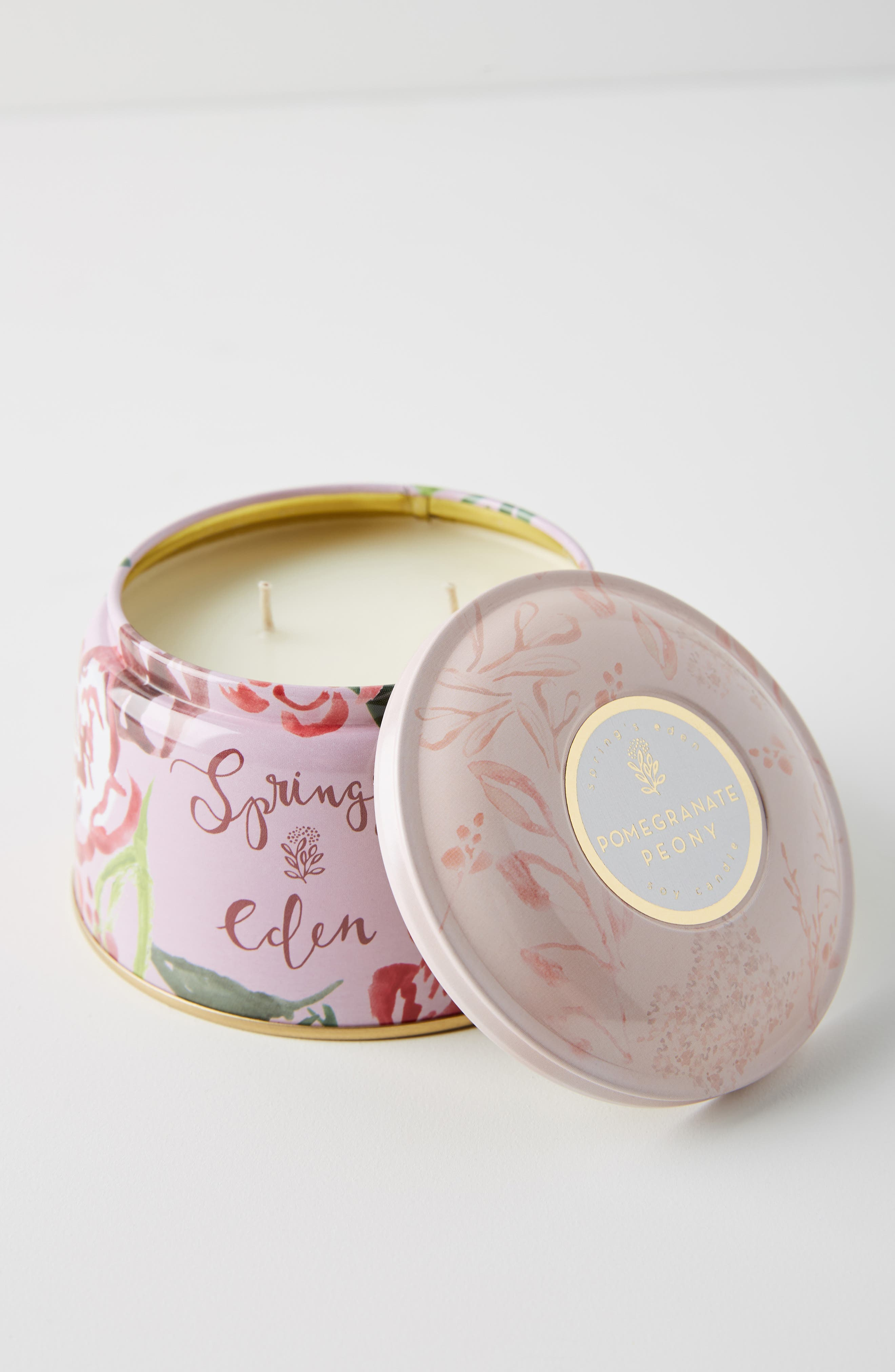 ANTHROPOLOGIE, Spring's Eden Tin Candle, Main thumbnail 1, color, POMEGRANATE PEONY