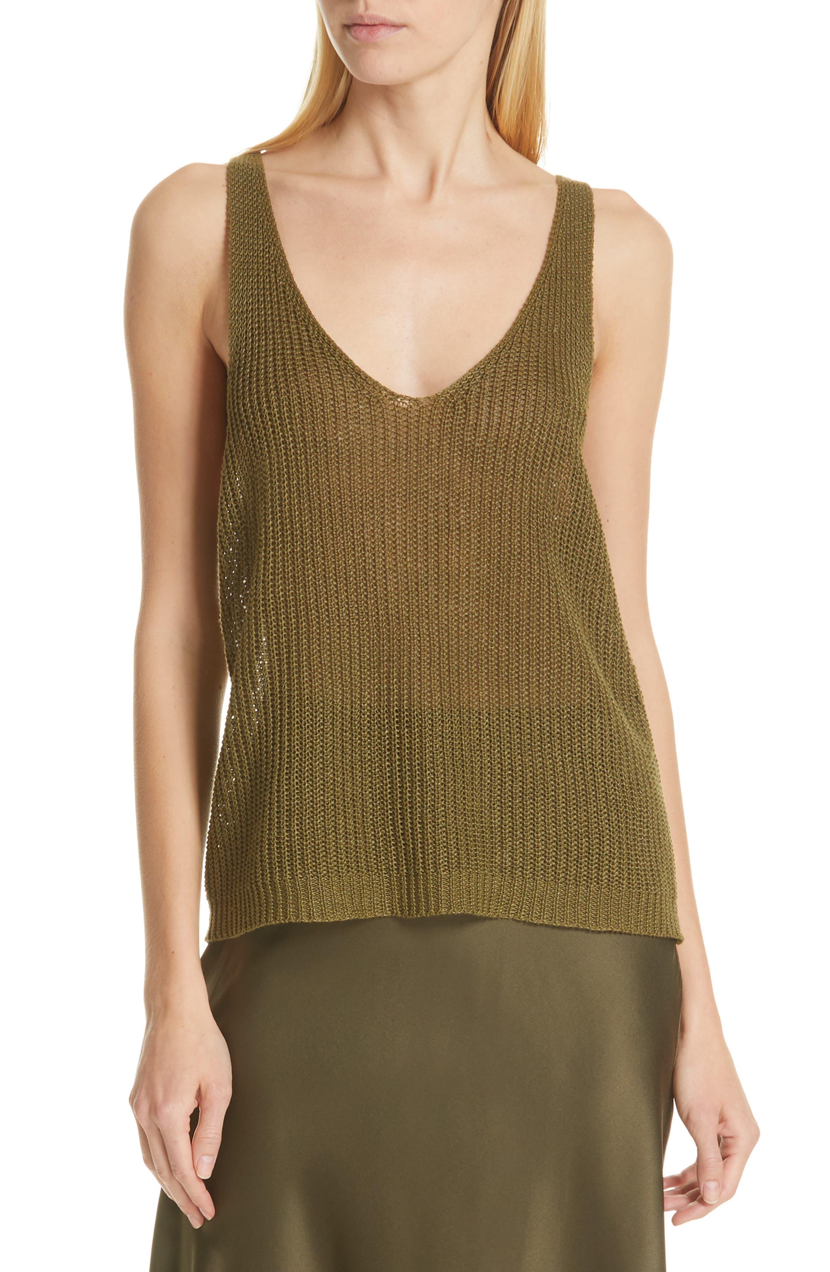 NILI LOTAN Nala Linen Sweater Tank, Main, color, OLIVE