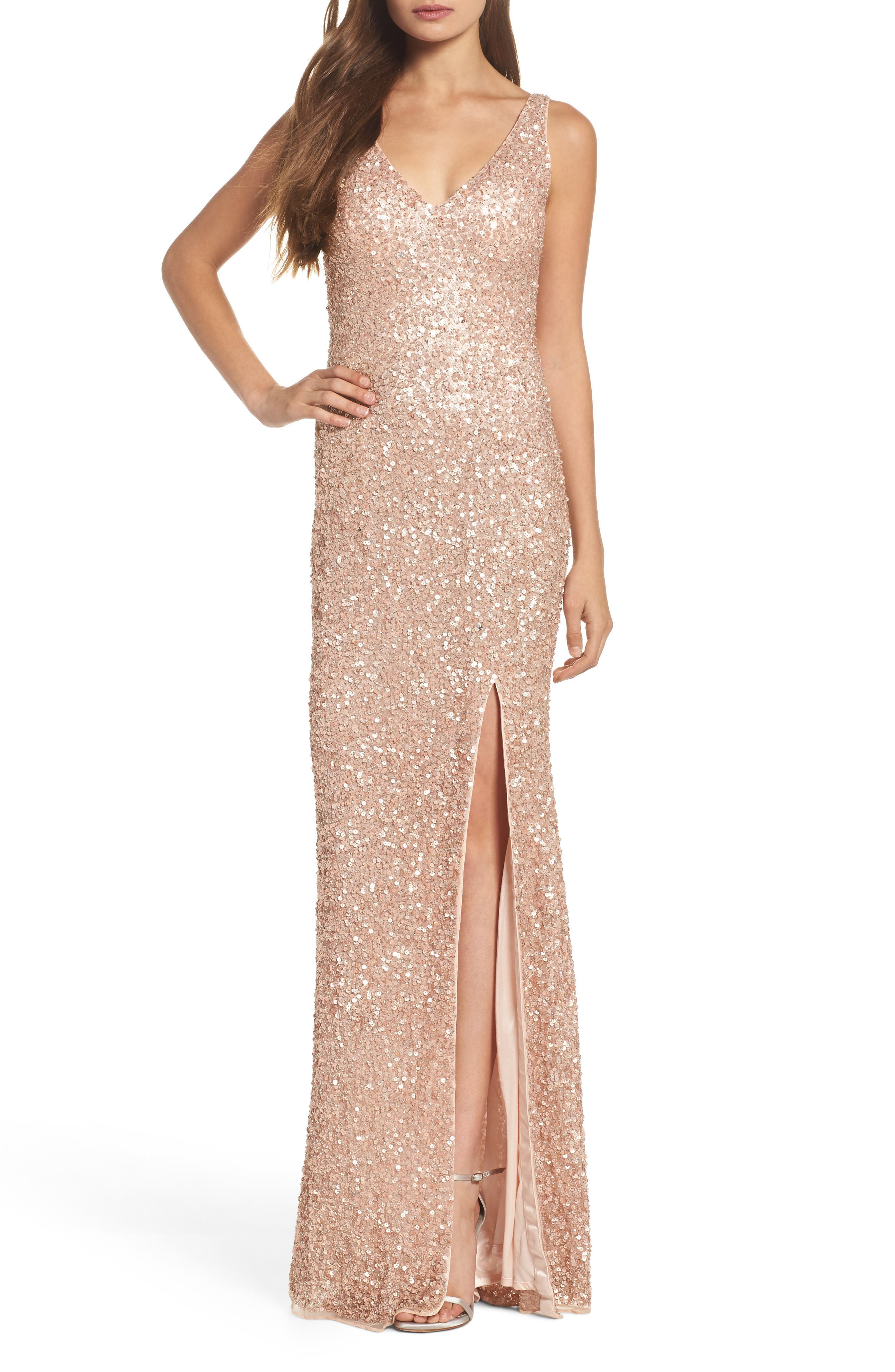 MAC DUGGAL, Sequin Slit Gown, Main thumbnail 1, color, ROSE GOLD
