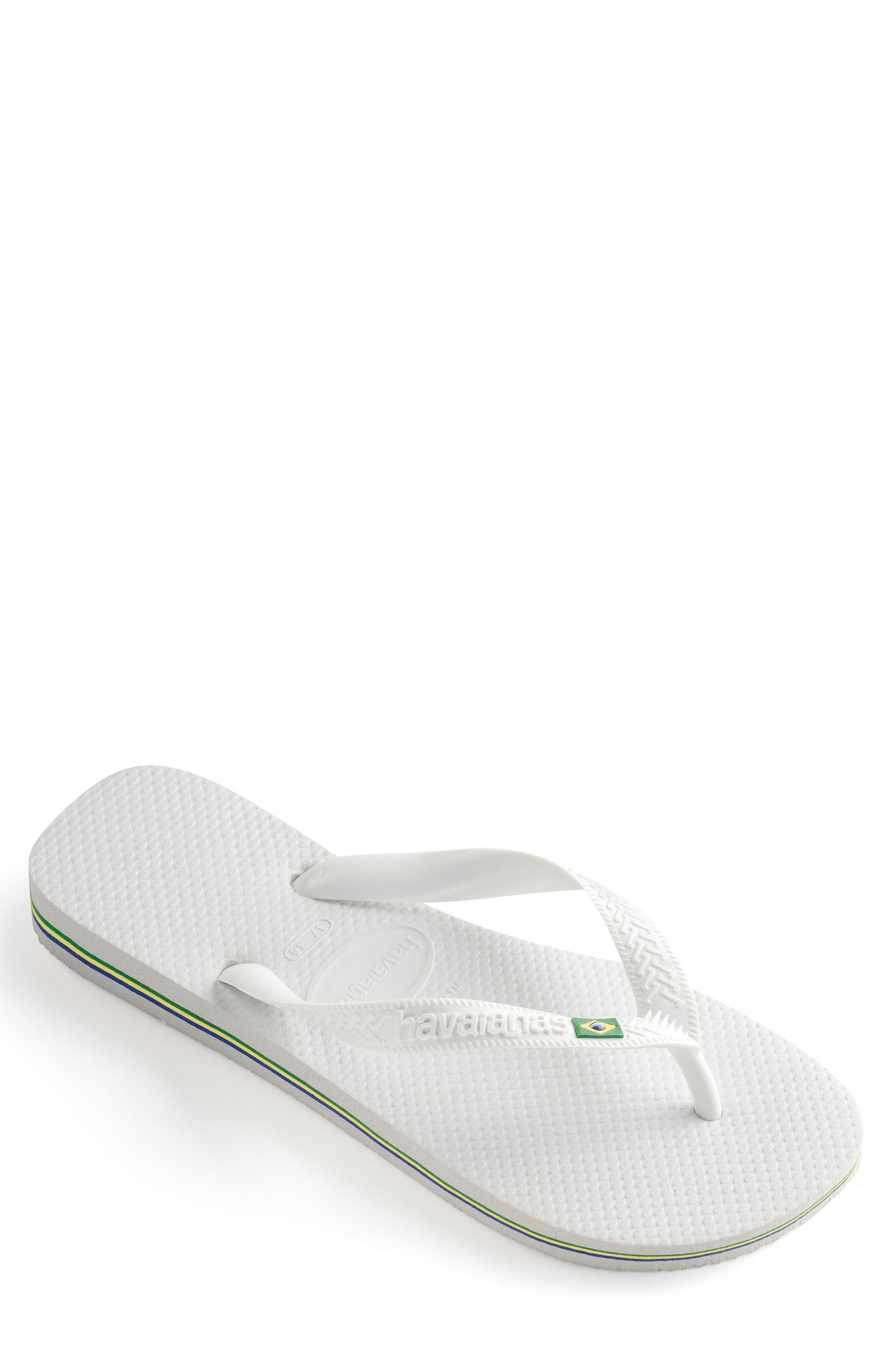 HAVAIANAS, 'Brazil' Flip Flop, Alternate thumbnail 2, color, WHITE