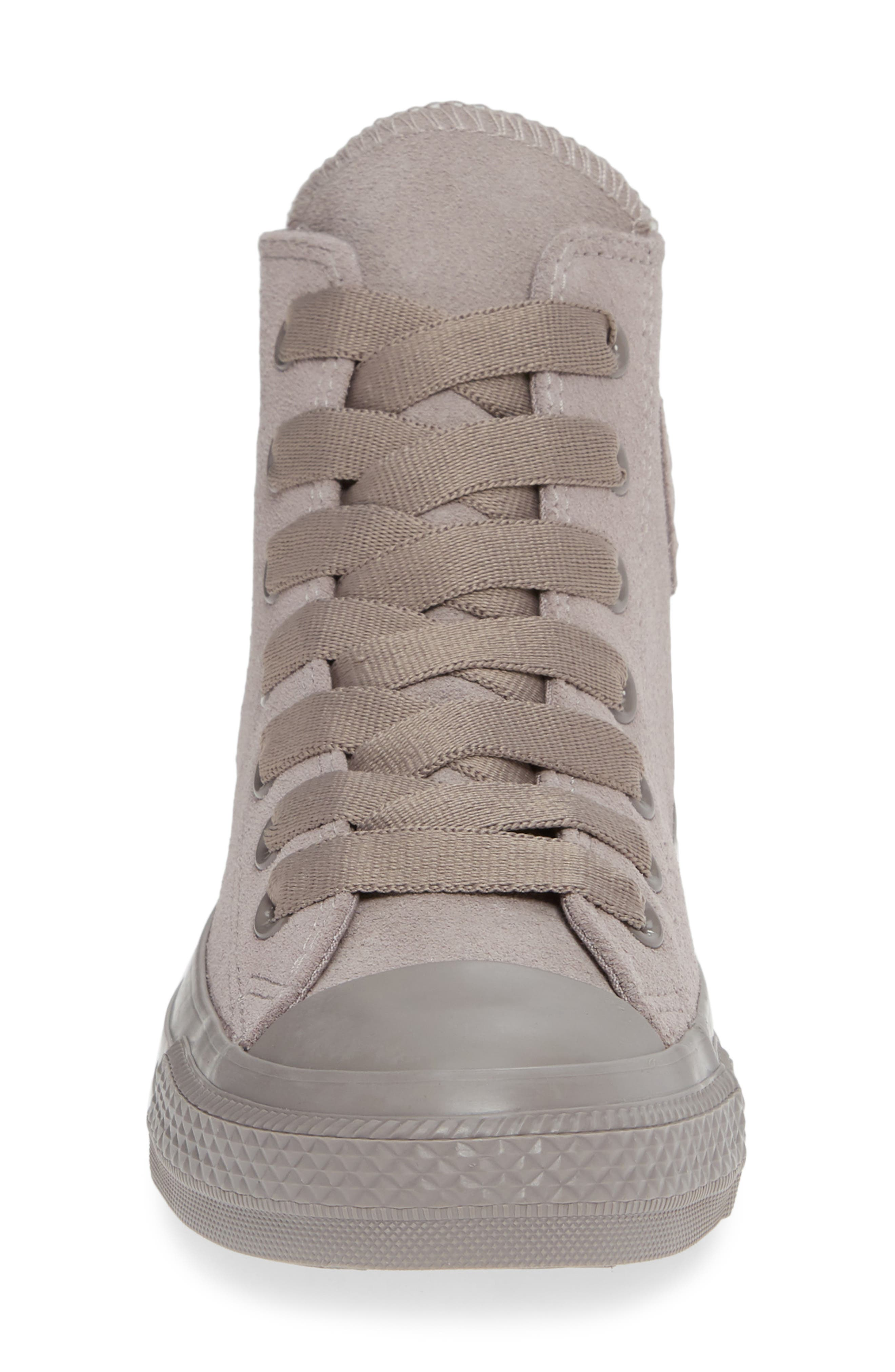 CONVERSE, Chuck Taylor<sup>®</sup> All Star<sup>®</sup> Hi Sneaker, Alternate thumbnail 4, color, MERCURY GREY SUEDE
