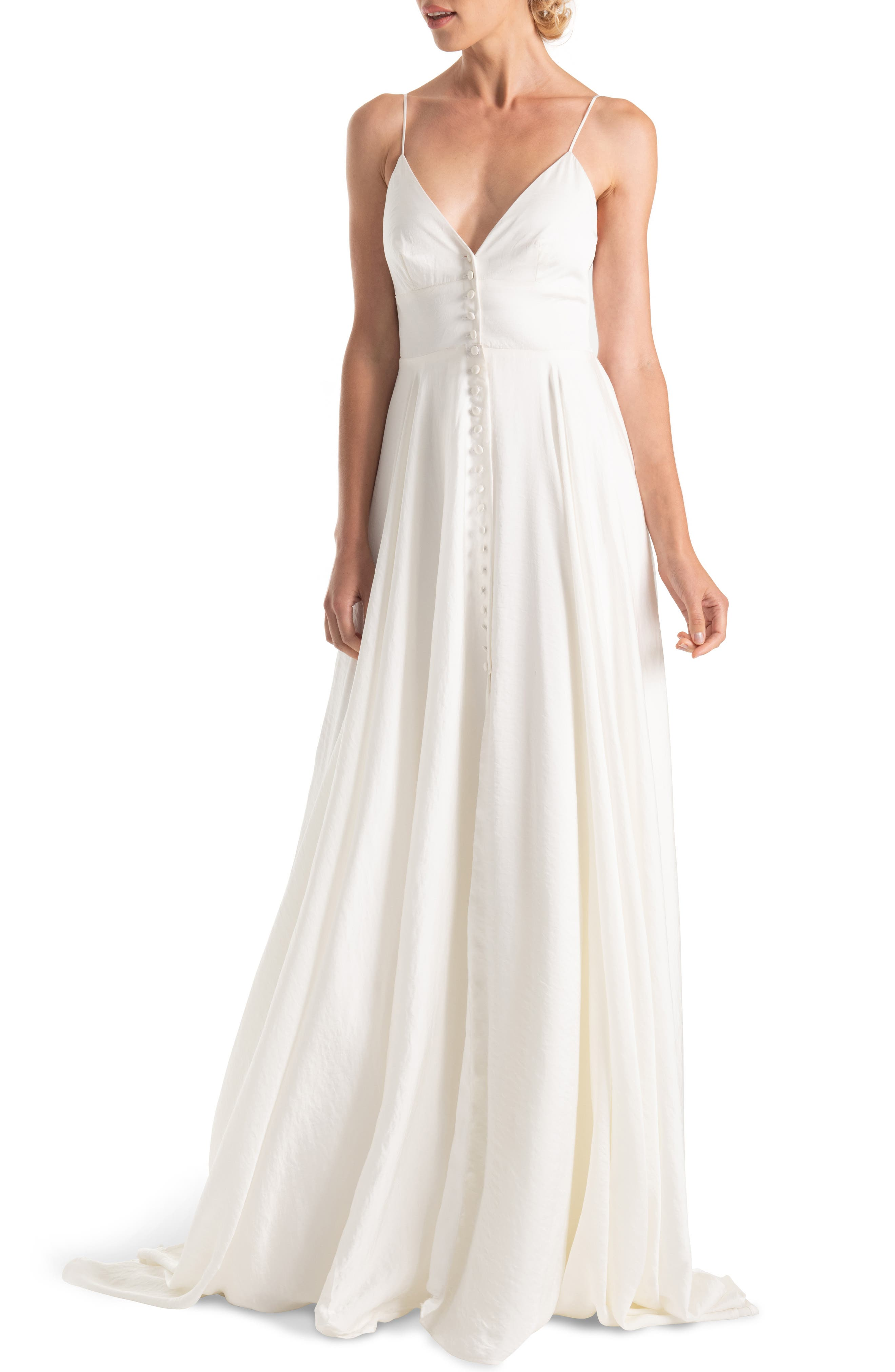 JOANNA AUGUST, Nancy V-Neck Crepe Wedding Dress, Main thumbnail 1, color, WHITE