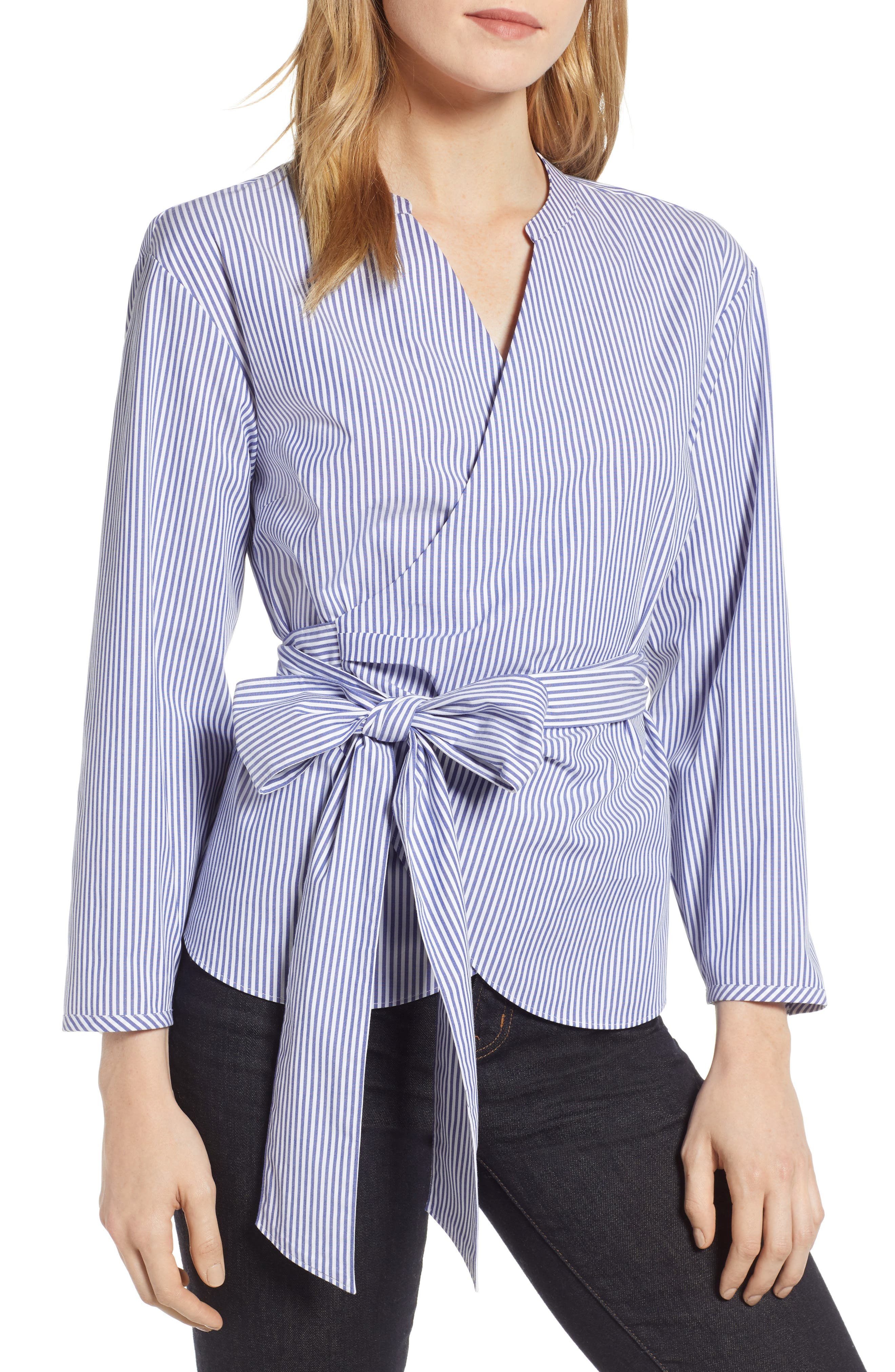 J.CREW, Stretch Cotton Stripe Wrap Top, Main thumbnail 1, color, BLUE