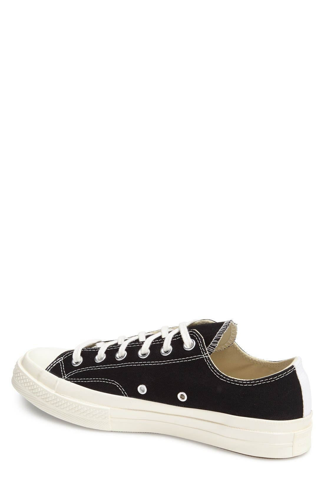 COMME DES GARÇONS, PLAY x Converse Chuck Taylor<sup>®</sup> Low Top Sneaker, Alternate thumbnail 3, color, BLACK CANVAS