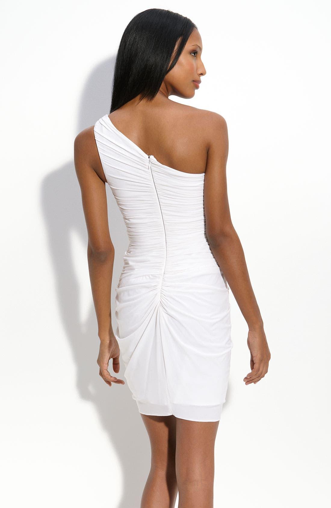 BCBGMAXAZRIA, Draped One Shoulder Jersey Dress, Alternate thumbnail 2, color, 100