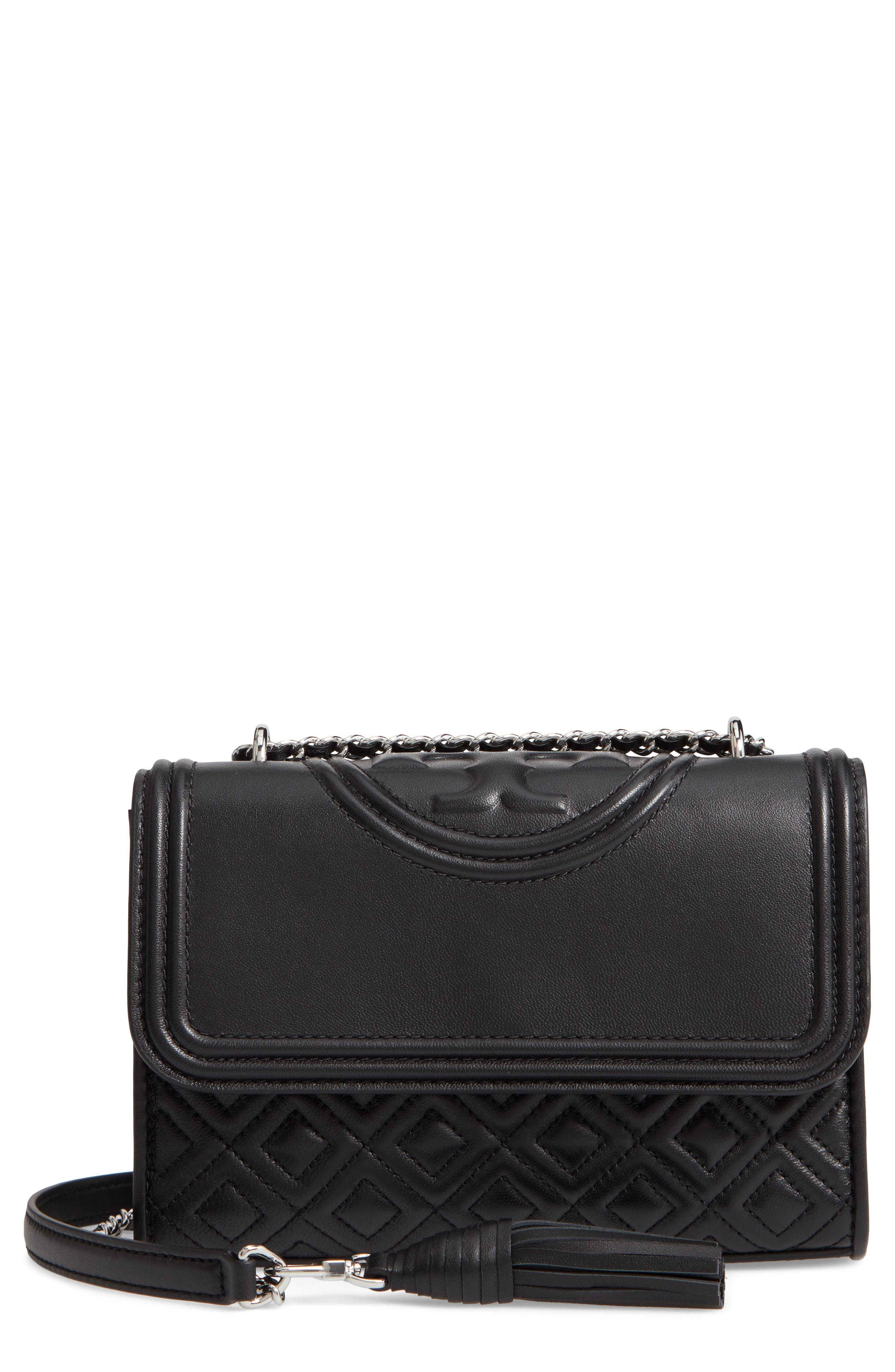 TORY BURCH, Small Fleming Leather Convertible Shoulder Bag, Main thumbnail 1, color, BLACK / SILVER