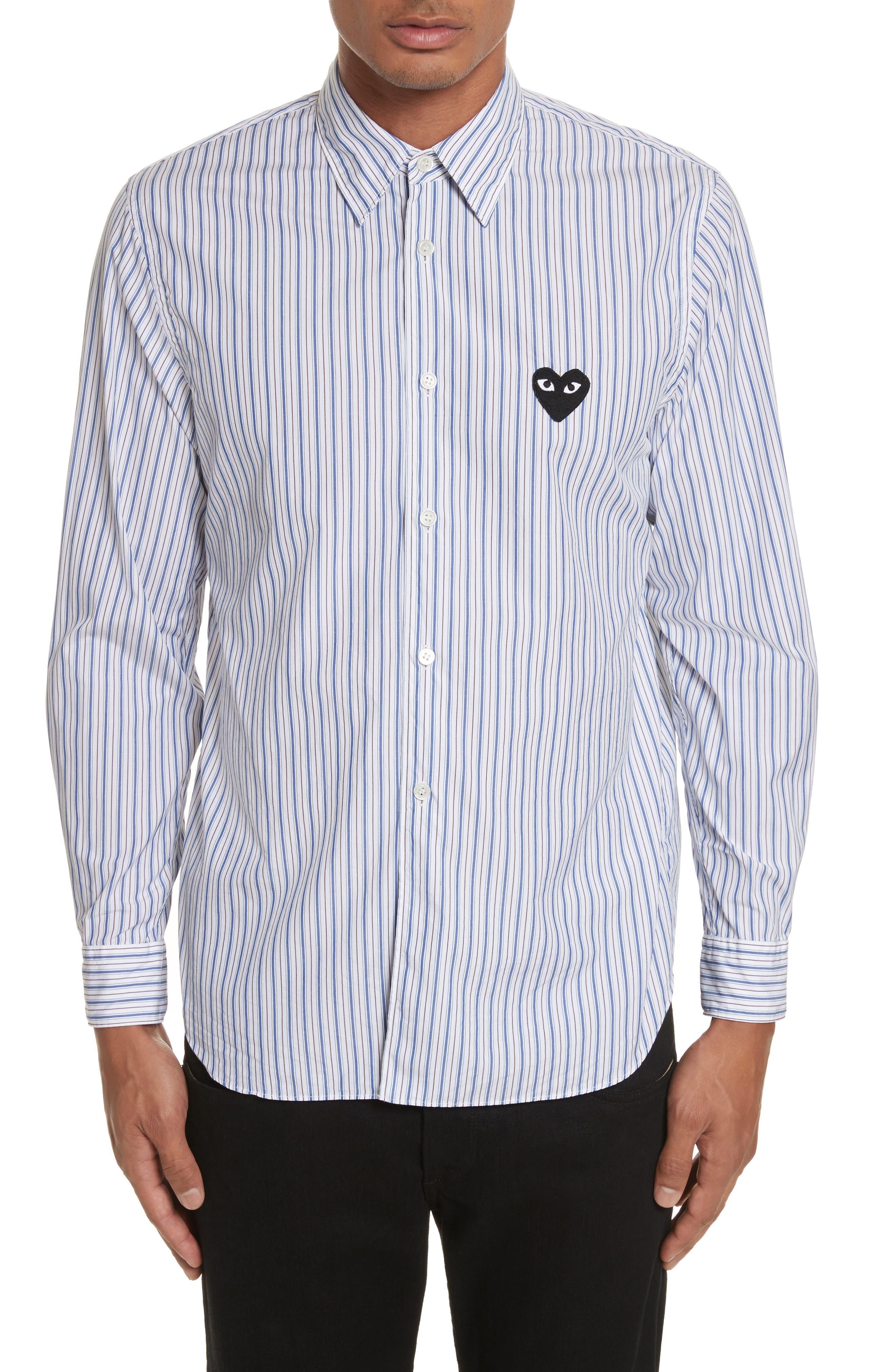 COMME DES GARÇONS PLAY, Black Heart Stripe Oxford Shirt, Main thumbnail 1, color, BLUE