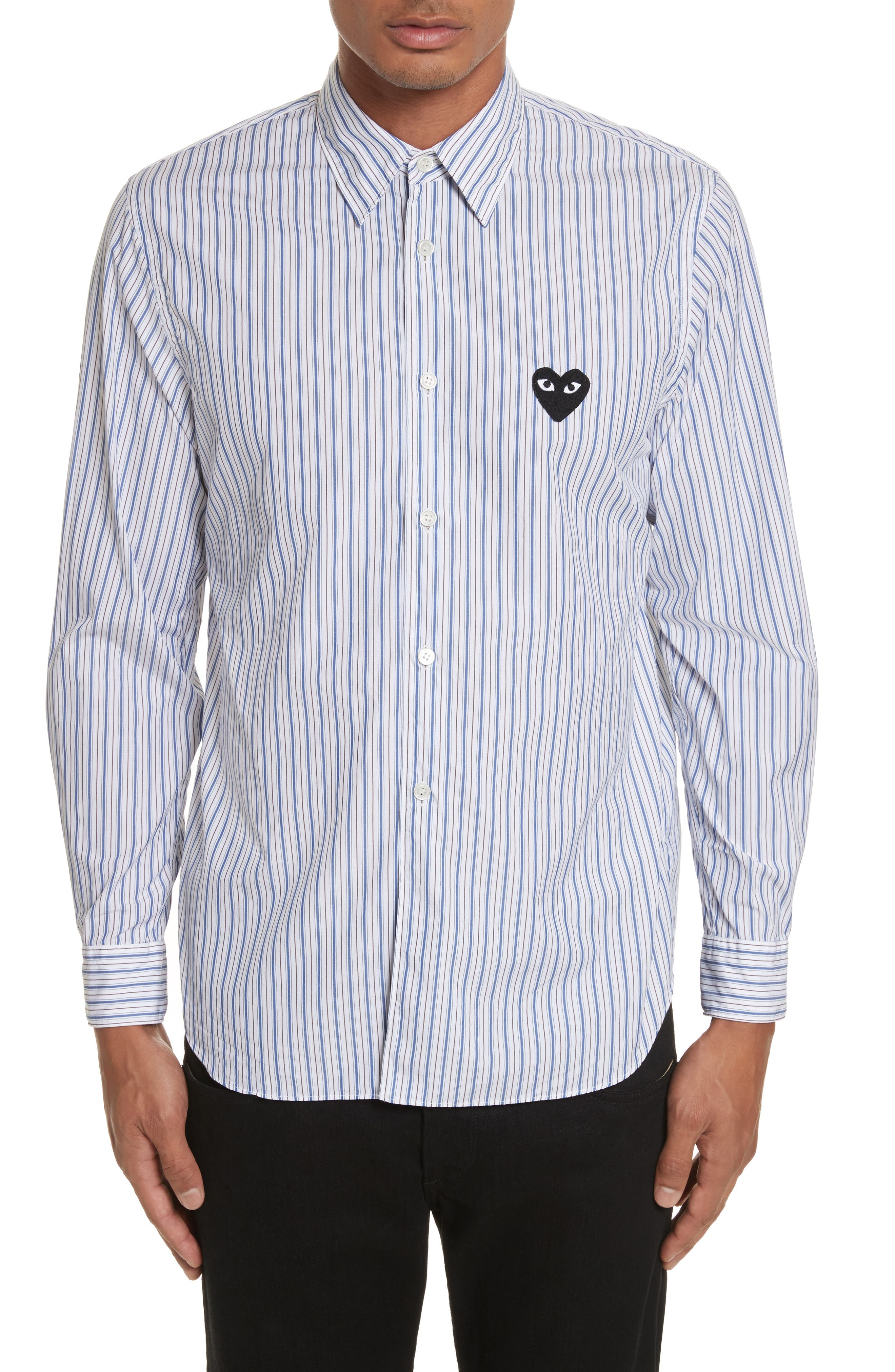 COMME DES GARÇONS PLAY Black Heart Stripe Oxford Shirt, Main, color, BLUE