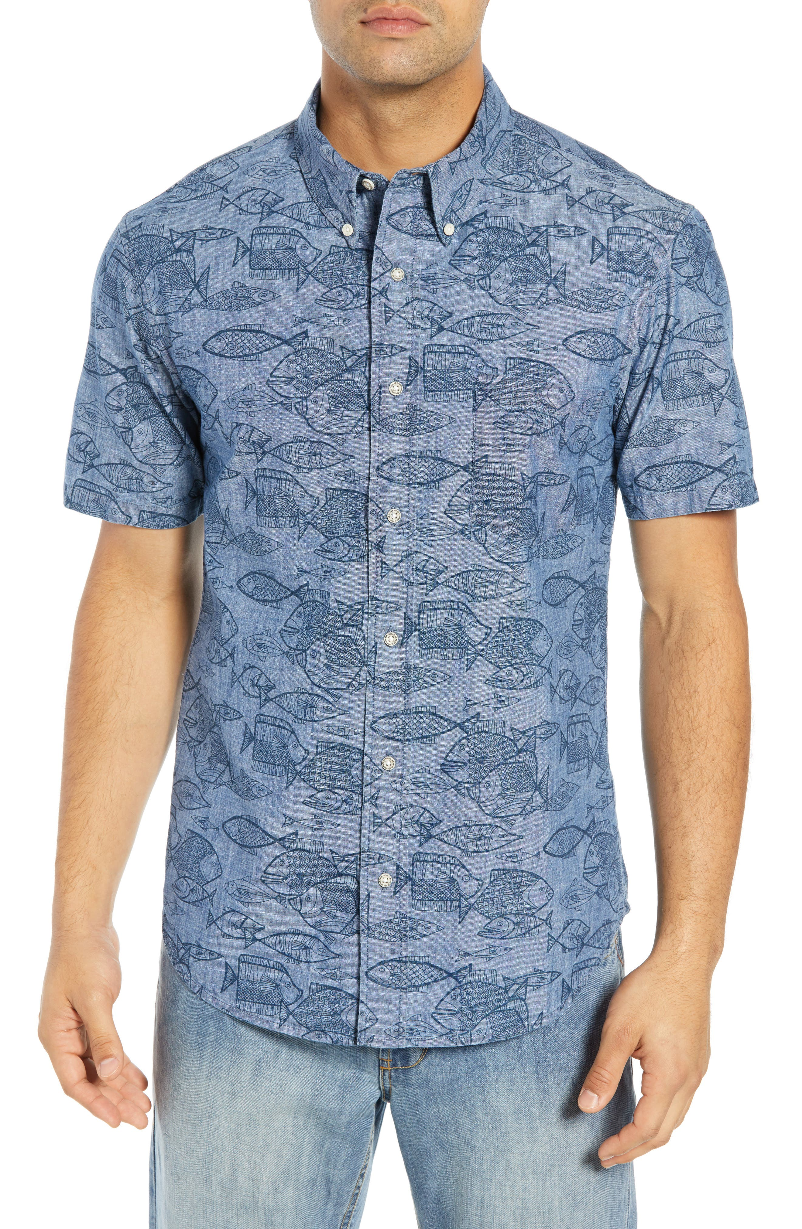 REYN SPOONER Kauhulu Tailored Fit Sport Shirt, Main, color, CHAMBRAY BLUE