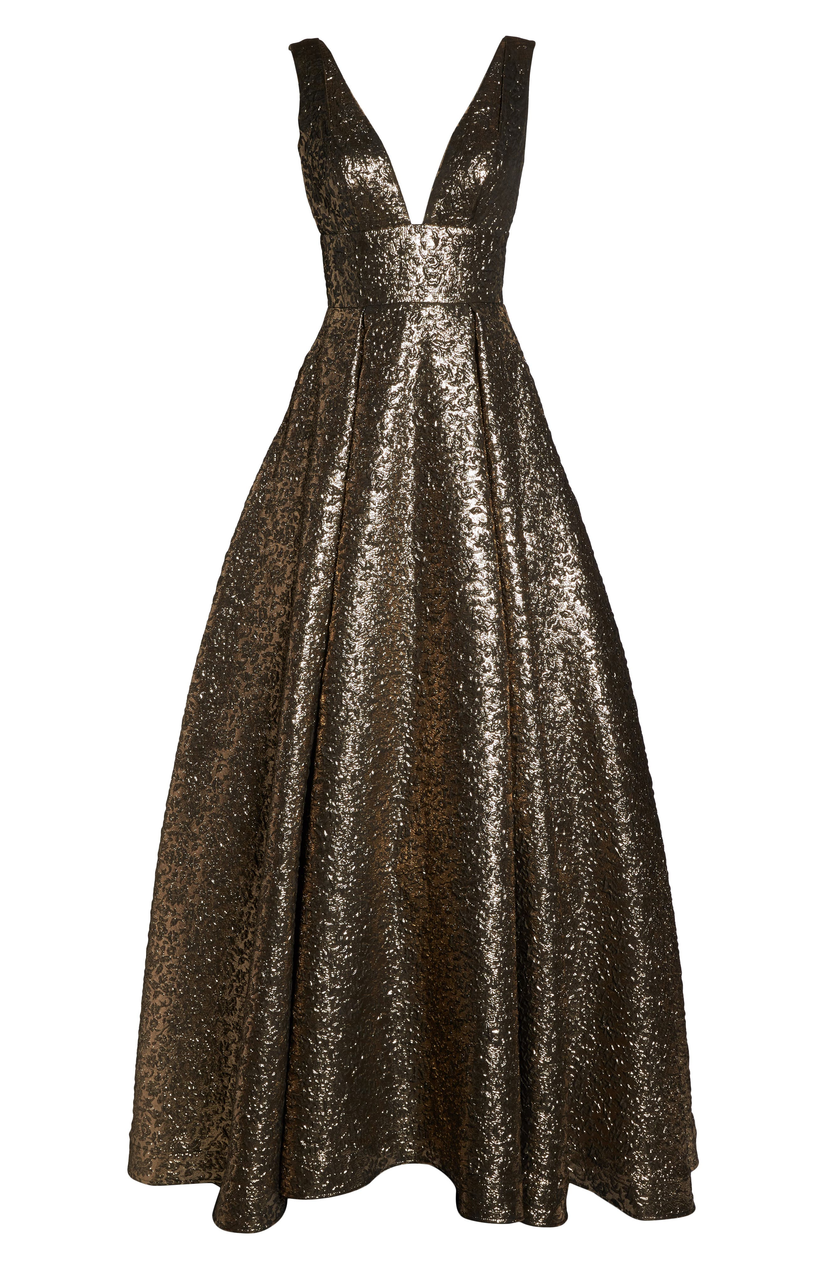 MAC DUGGAL, Metallic Jacquard Ballgown, Alternate thumbnail 6, color, ANTIQUE GOLD