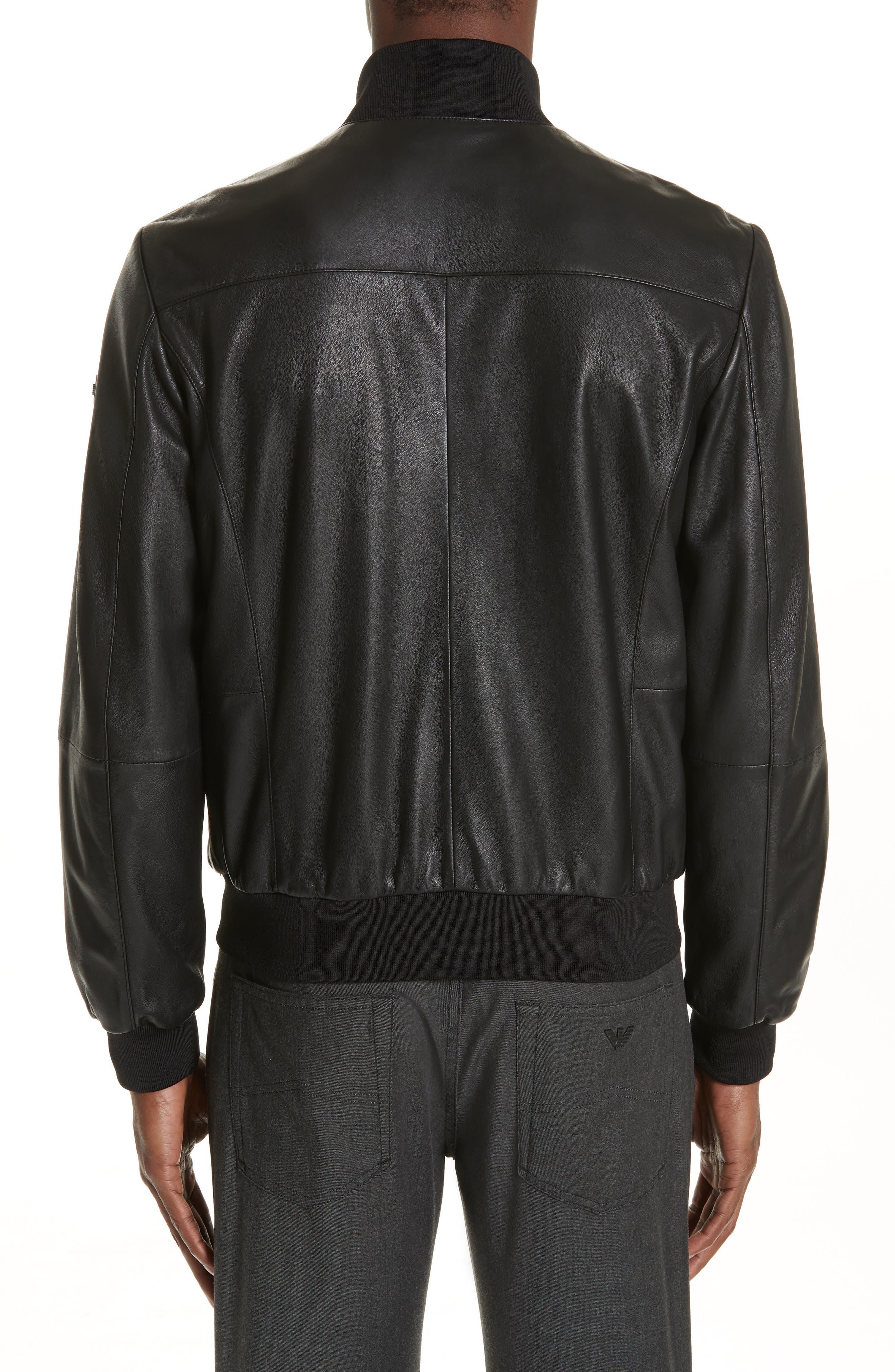EMPORIO ARMANI, Leather Bomber Jacket, Alternate thumbnail 2, color, BLACK
