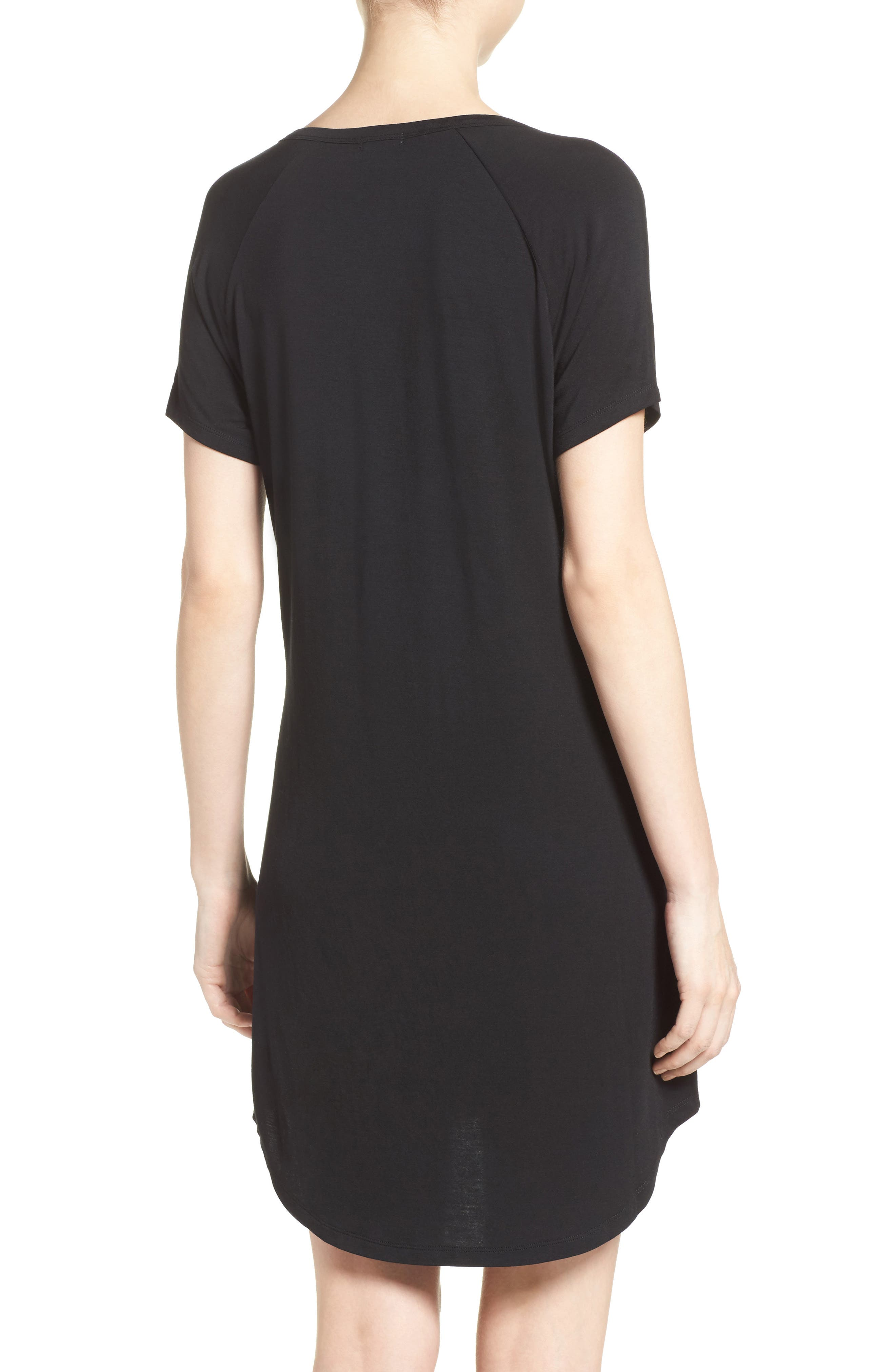 PJ SALVAGE, Sleep Shirt, Alternate thumbnail 2, color, BLACK