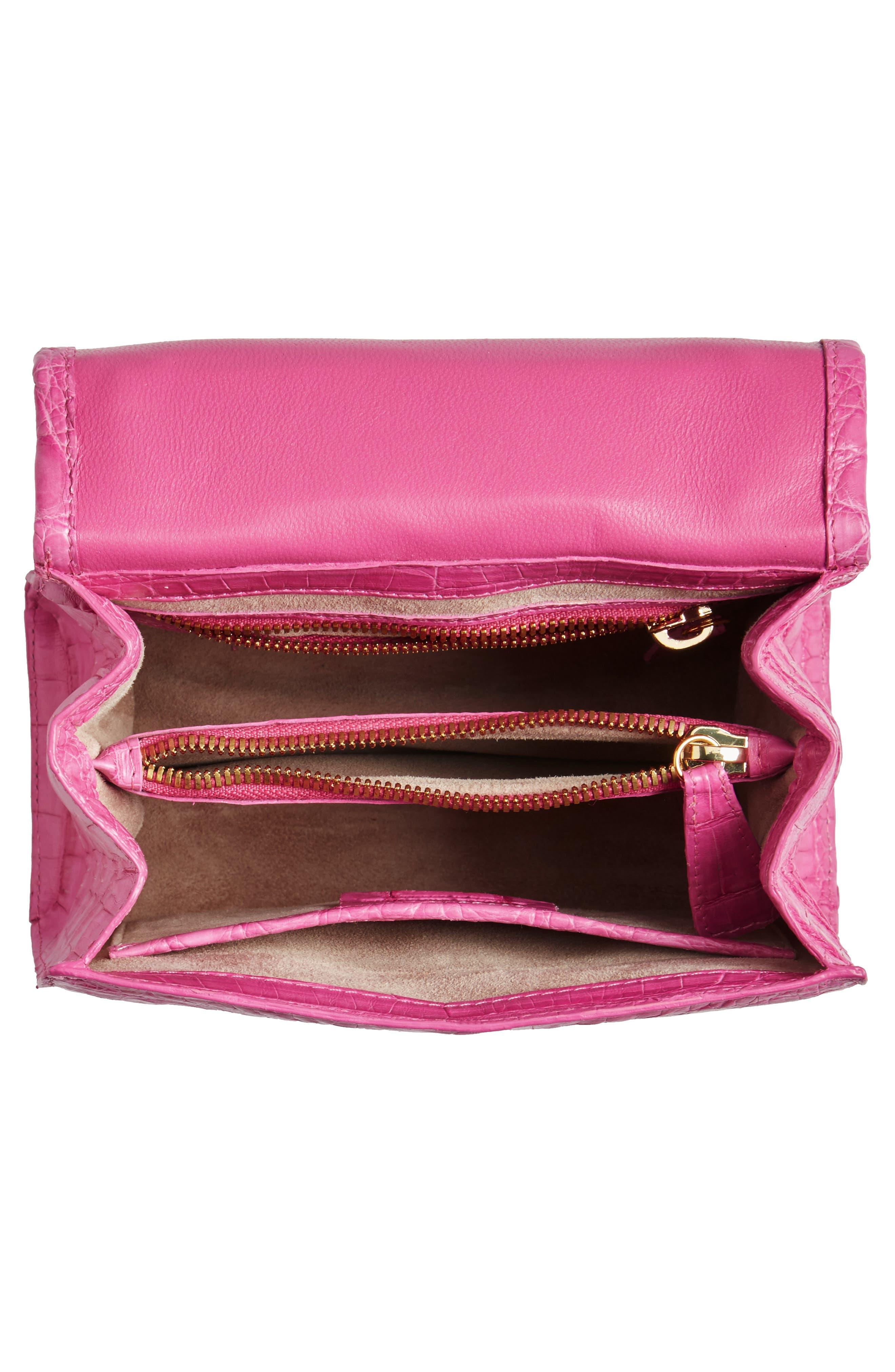 NANCY GONZALEZ, Mini Lily Genuine Crocodile Crossbody Bag, Alternate thumbnail 4, color, PINK MATTE
