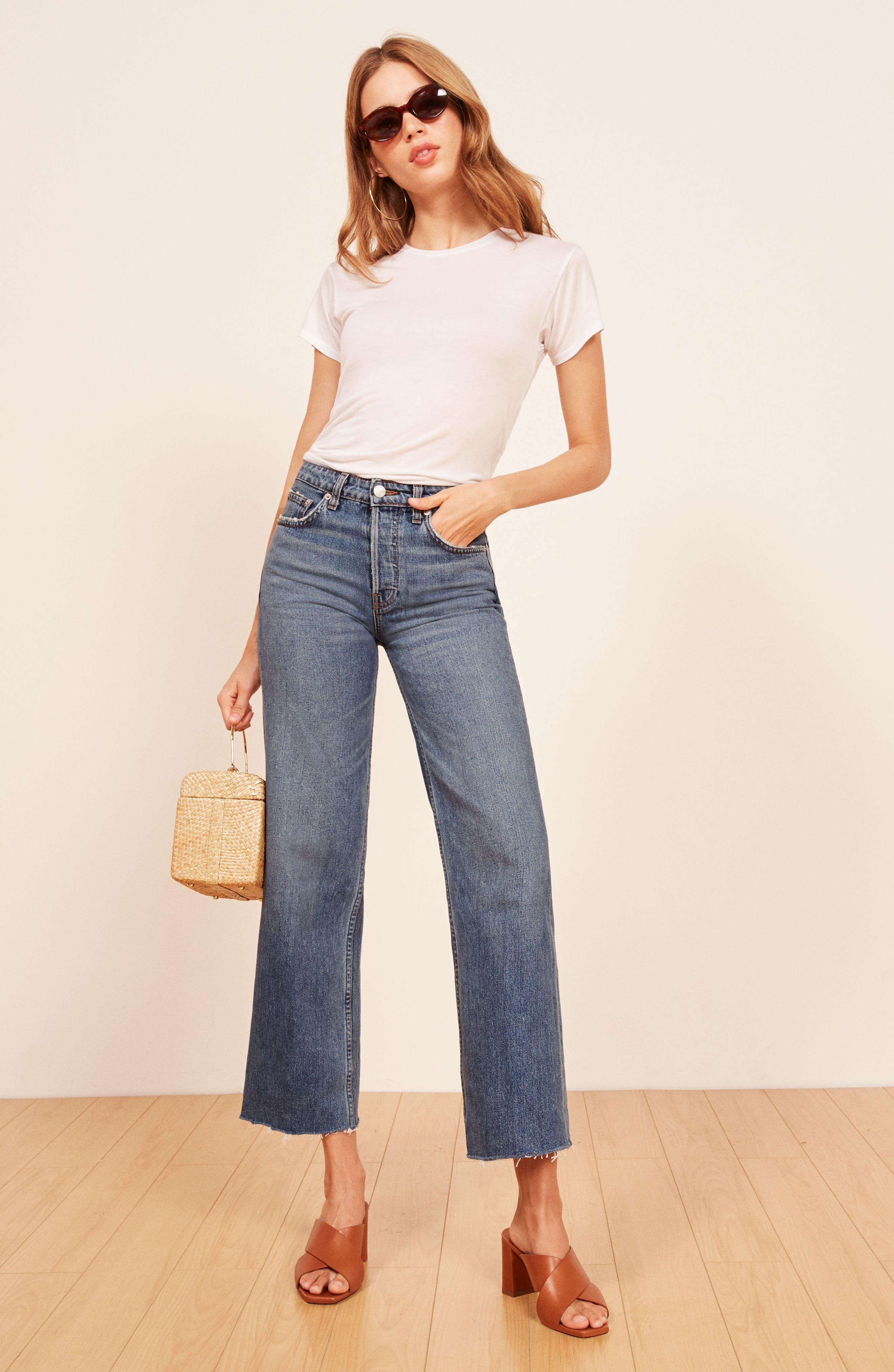 REFORMATION, Fawcett High Waist Crop Jeans, Alternate thumbnail 7, color, CELTIC