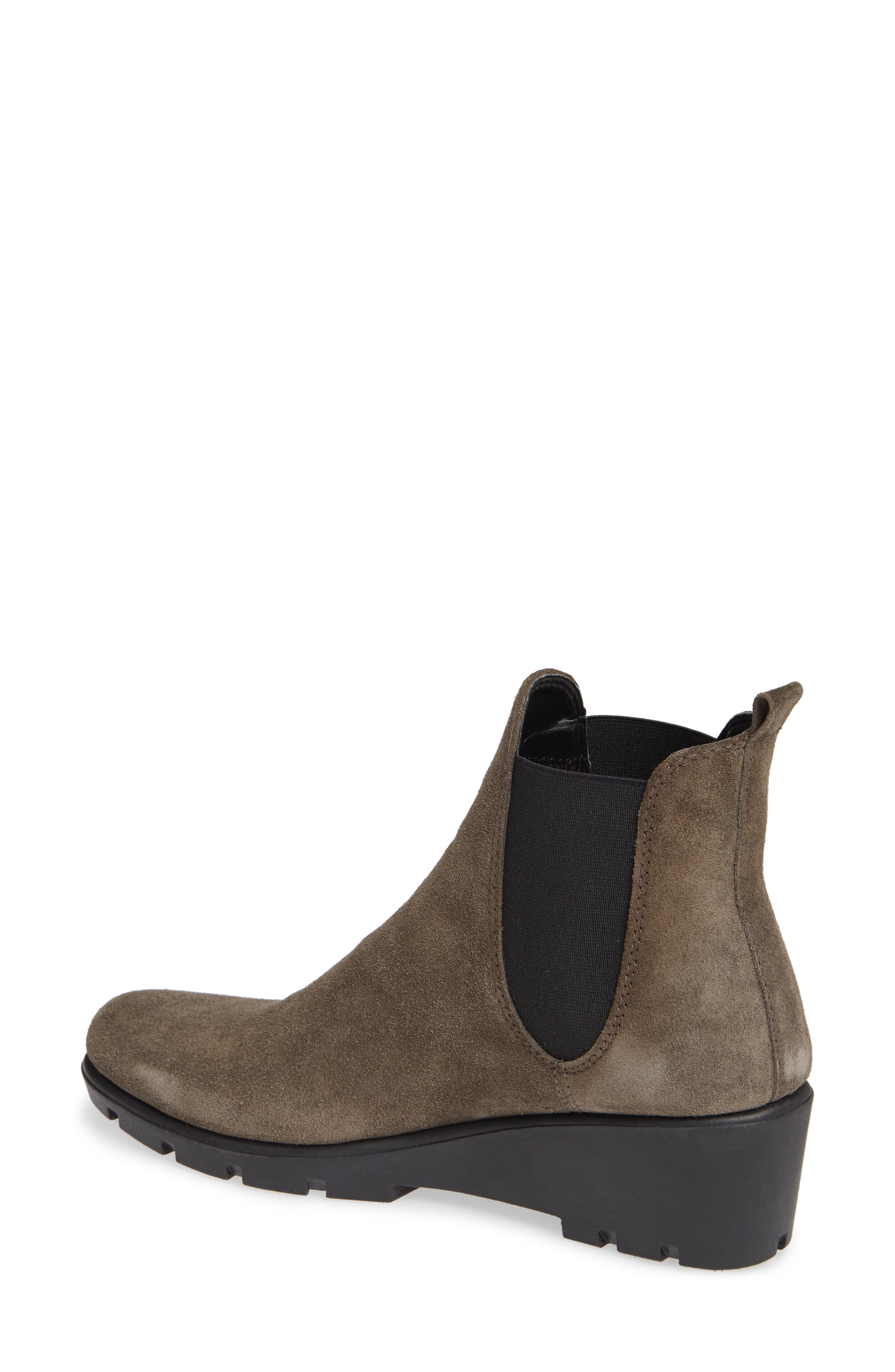 THE FLEXX, Slimmer Chelsea Wedge Boot, Alternate thumbnail 2, color, BROWN SUEDE