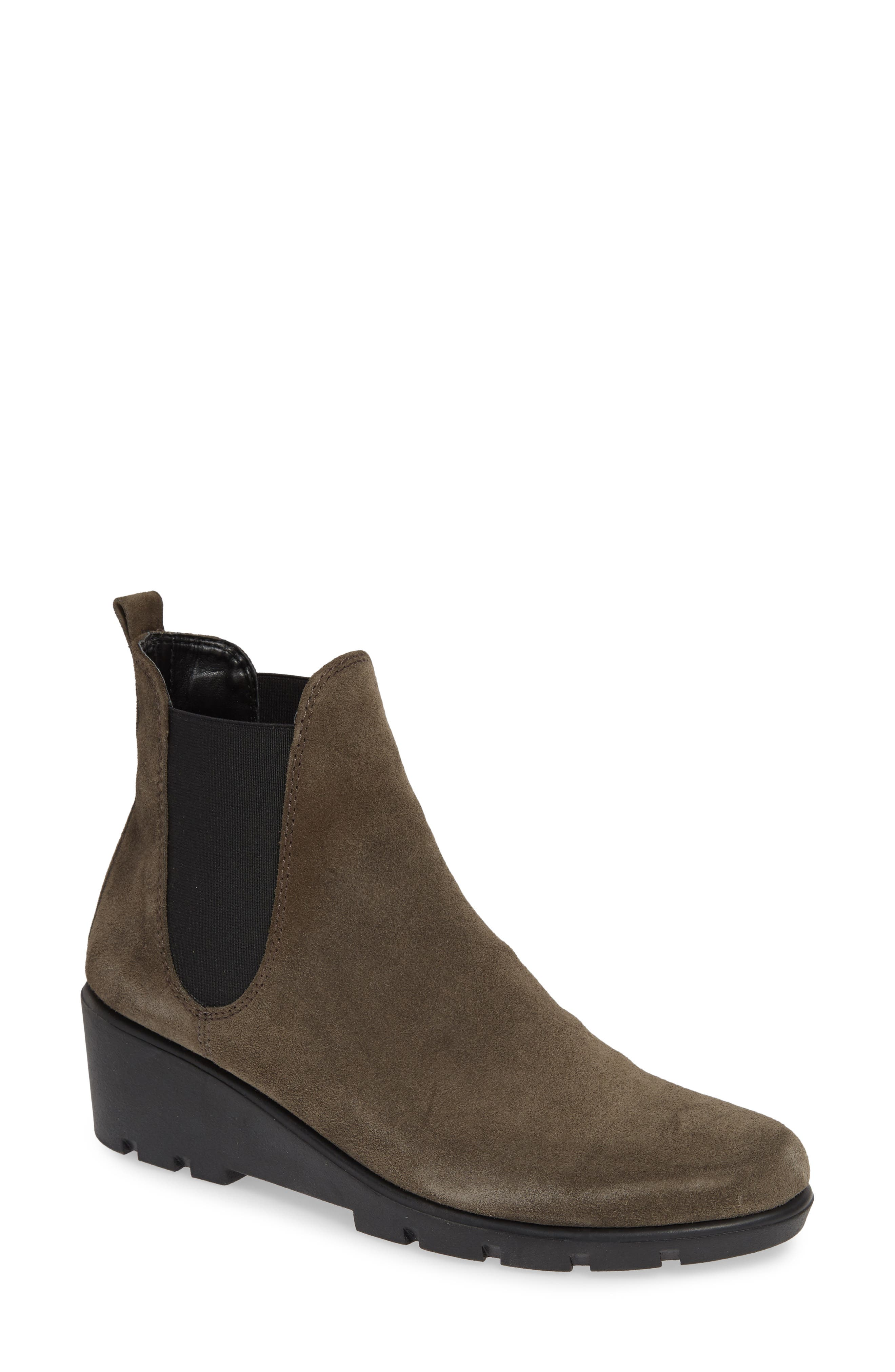 THE FLEXX, Slimmer Chelsea Wedge Boot, Main thumbnail 1, color, BROWN SUEDE