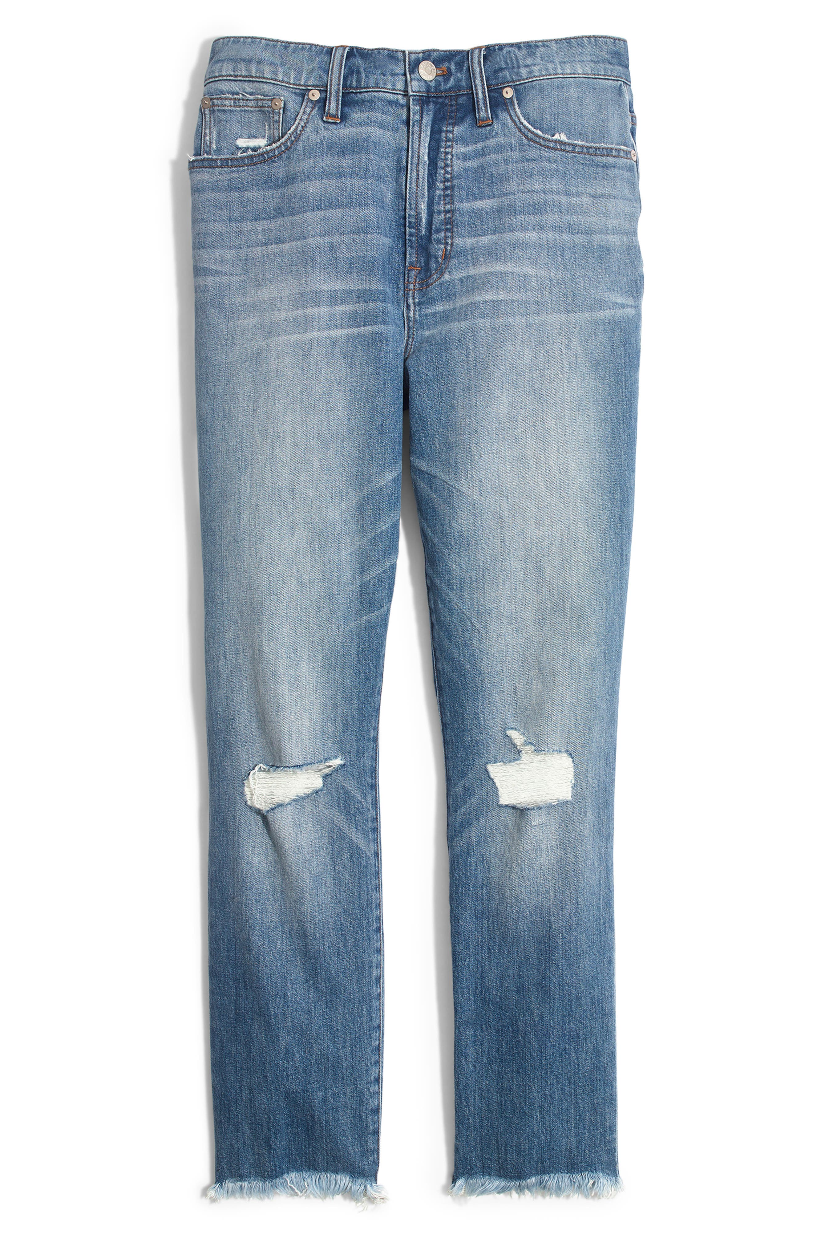 MADEWELL, The Perfect Vintage Crop High Waist Jeans, Alternate thumbnail 7, color, PARNELL WASH