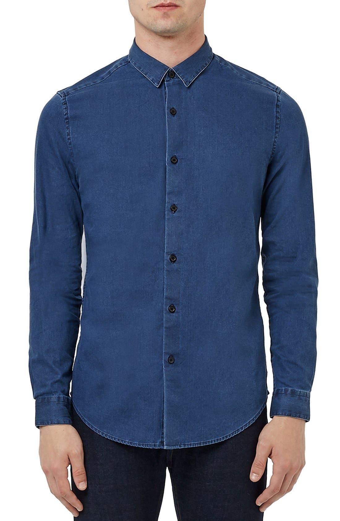 TOPMAN Denim Shirt, Main, color, 401