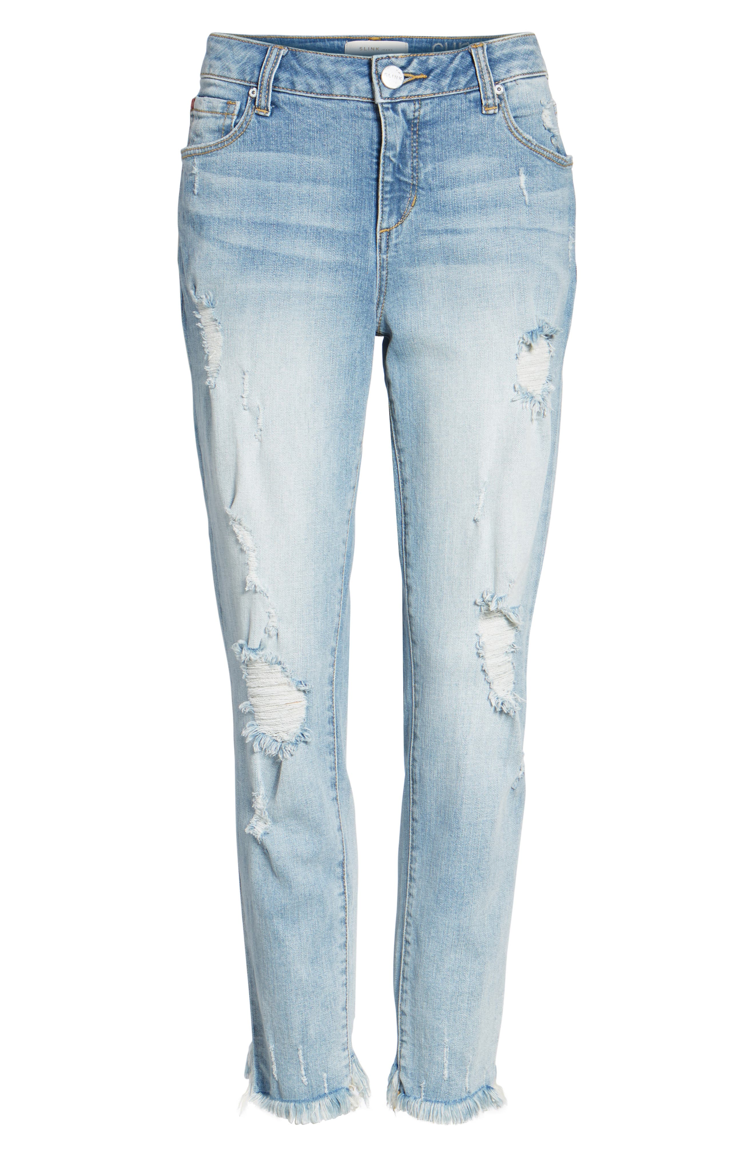 SLINK JEANS, Frayed Hem Easy Fit Ankle Jeans, Alternate thumbnail 6, color, MAGGIE