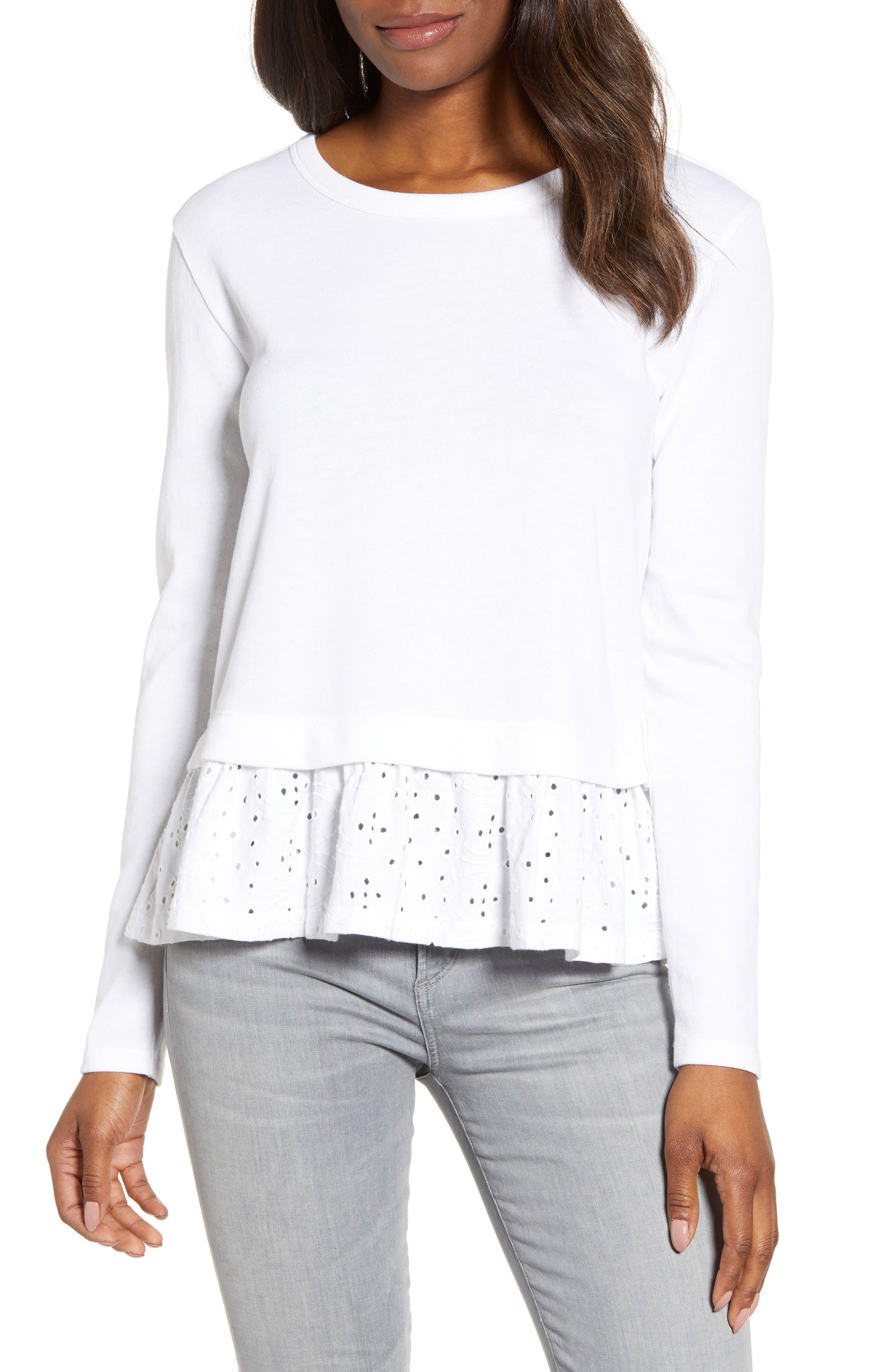 CASLON<SUP>®</SUP> Eyelet Peplum Sweatshirt, Main, color, WHITE