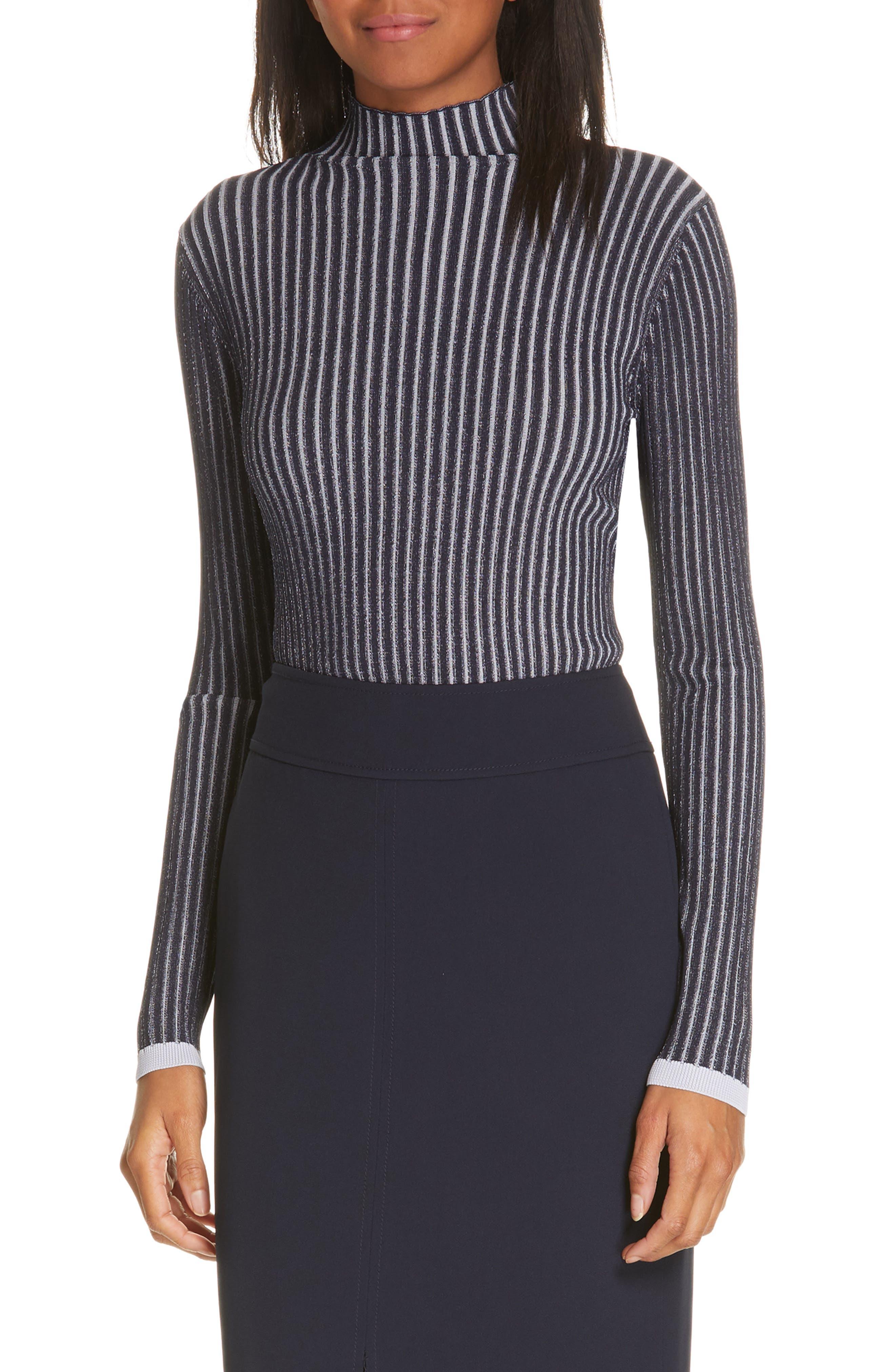 LEWIT, Stripe Ribbed Mock Neck Sweater, Main thumbnail 1, color, NAVY ICELANDIC STRIPE