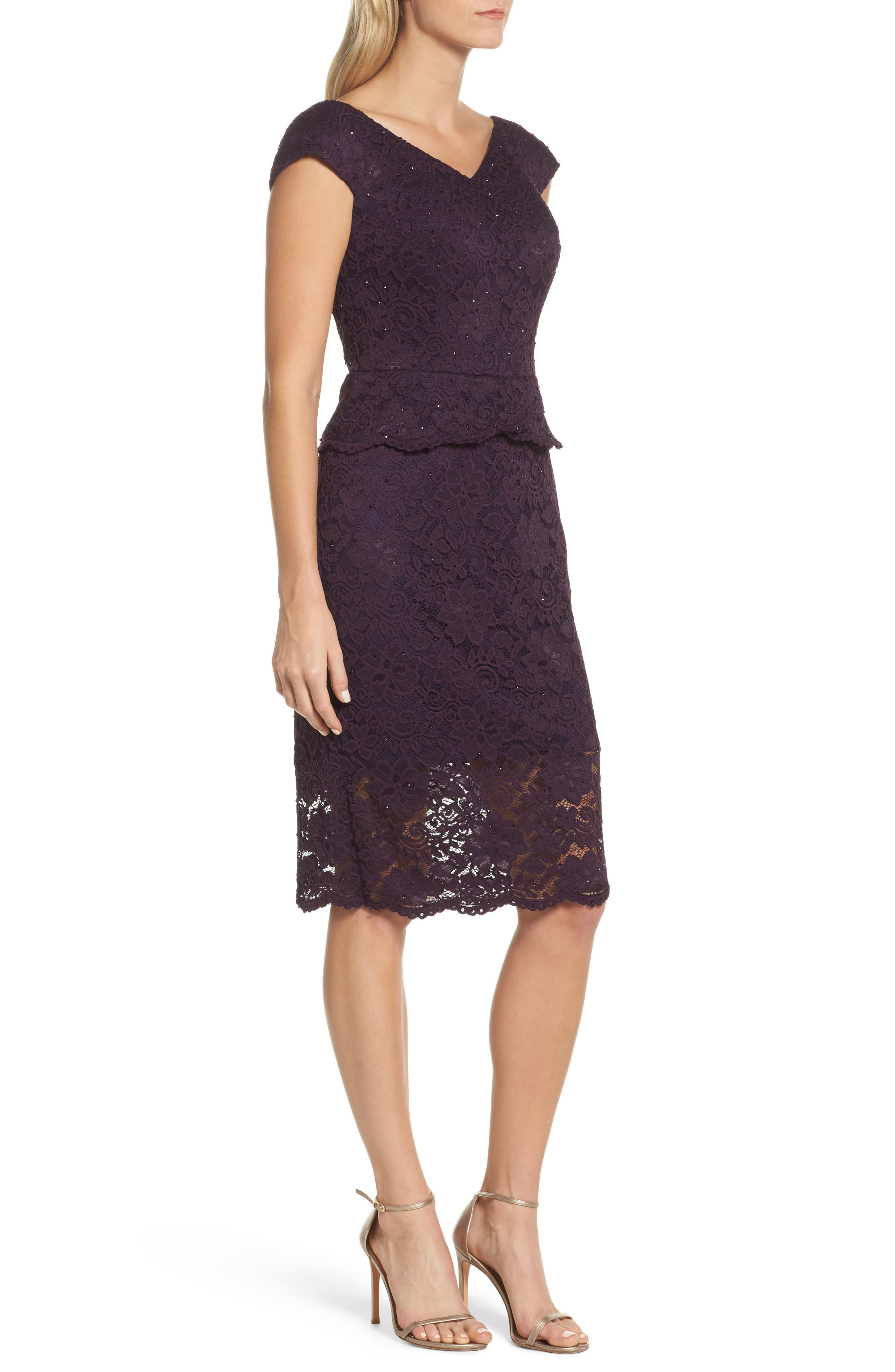 LA FEMME, Embellished Lace Sheath Dress, Alternate thumbnail 3, color, 501