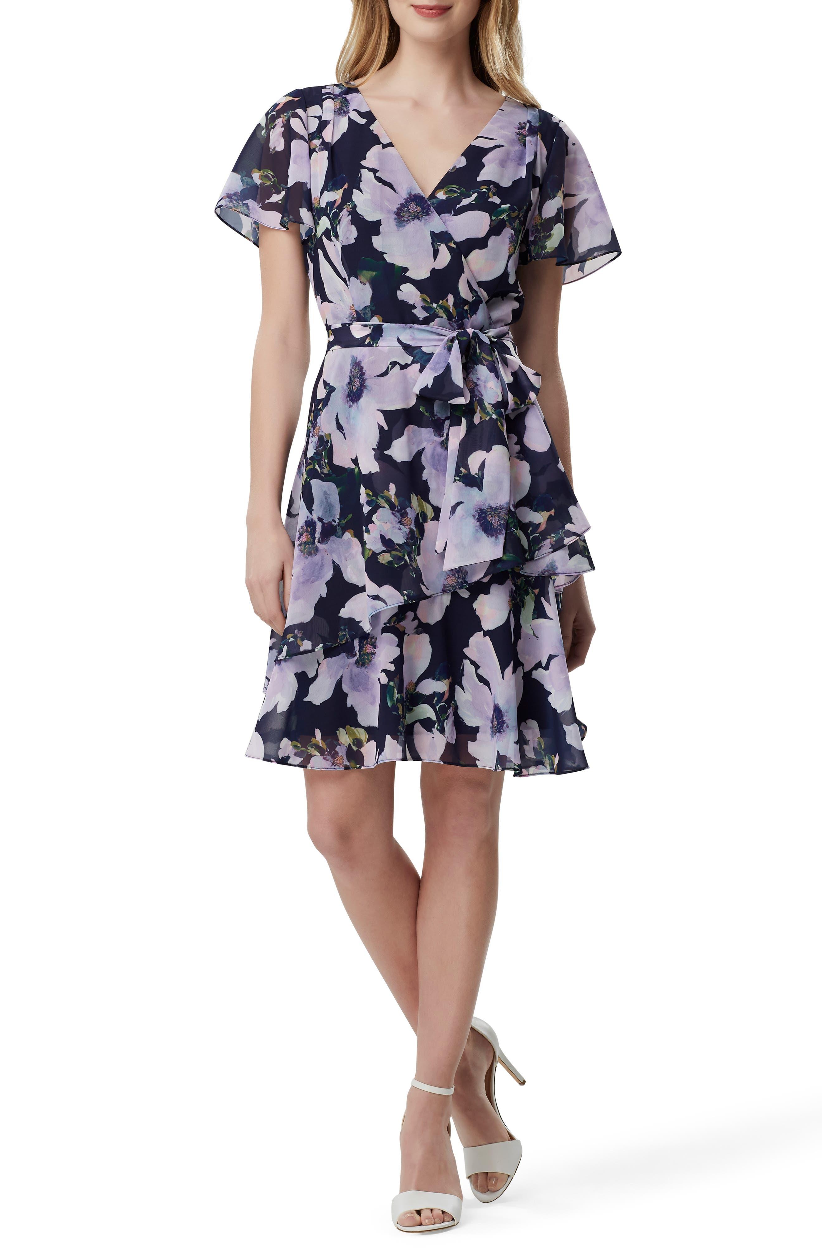 Petite Tahari Floral Print Chiffon Faux Wrap Dress, Purple