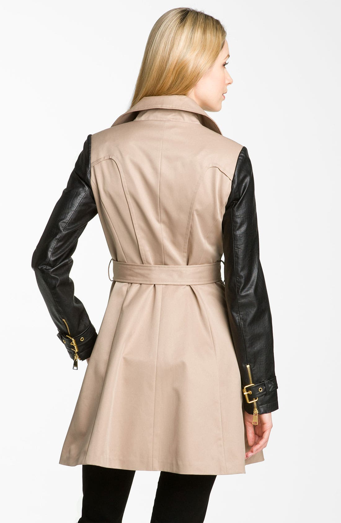 BEBE, Mixed Media Trench Coat, Alternate thumbnail 2, color, 250
