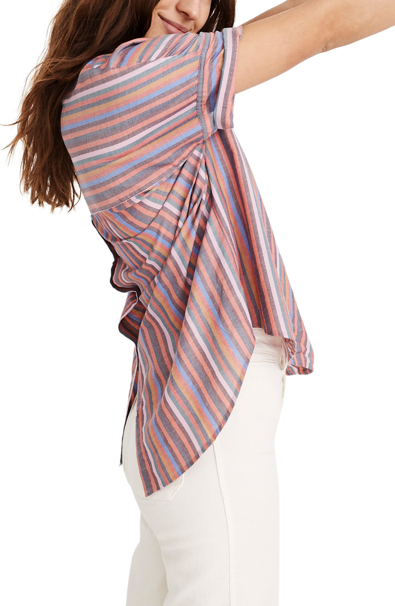 MADEWELL, Courier Rainbow Stripe Button Back Shirt, Alternate thumbnail 3, color, MULLED WINE SMITH STRIPE