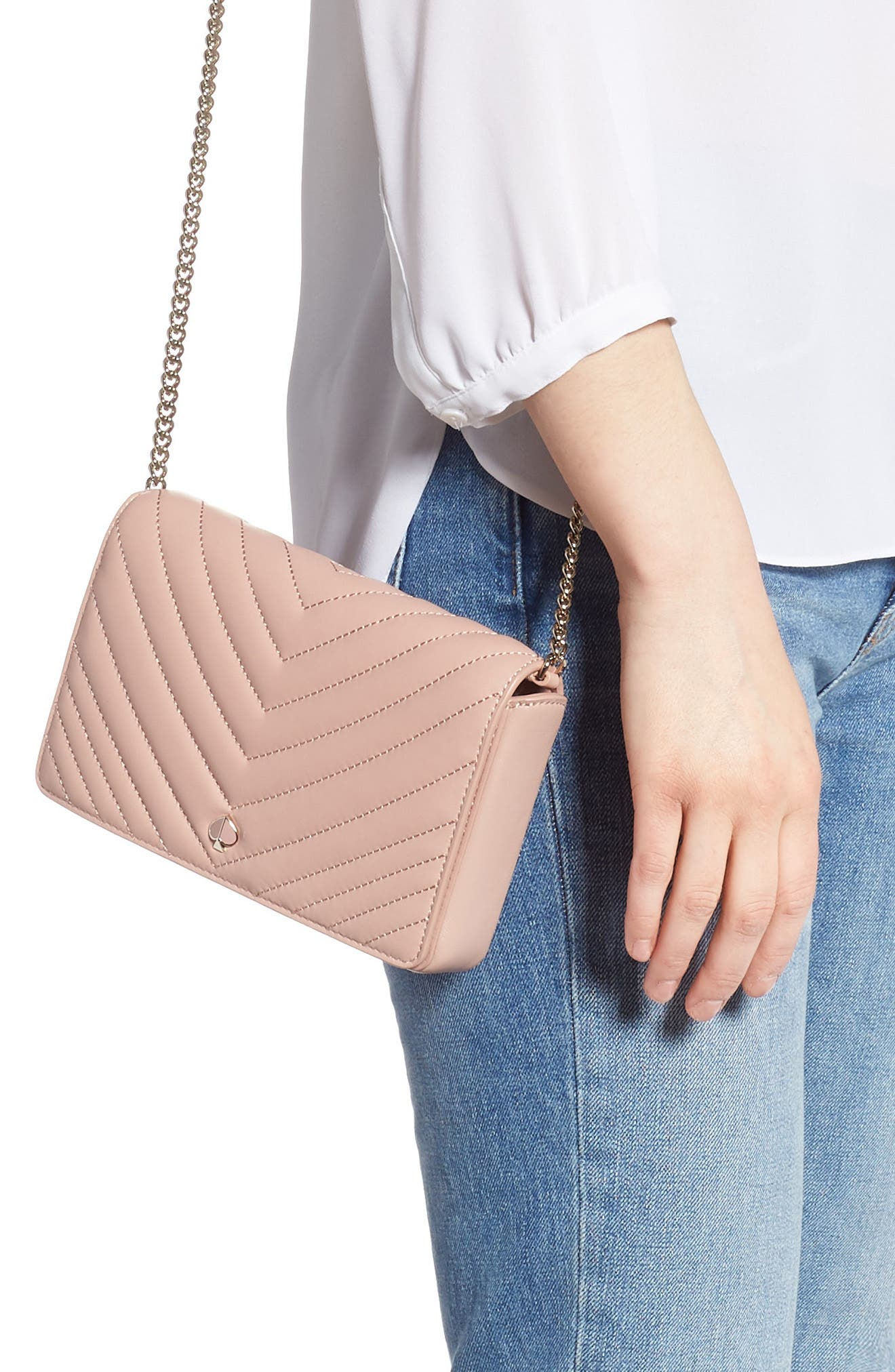 KATE SPADE NEW YORK, amelia quilted leather clutch, Alternate thumbnail 2, color, FLAPPER PINK