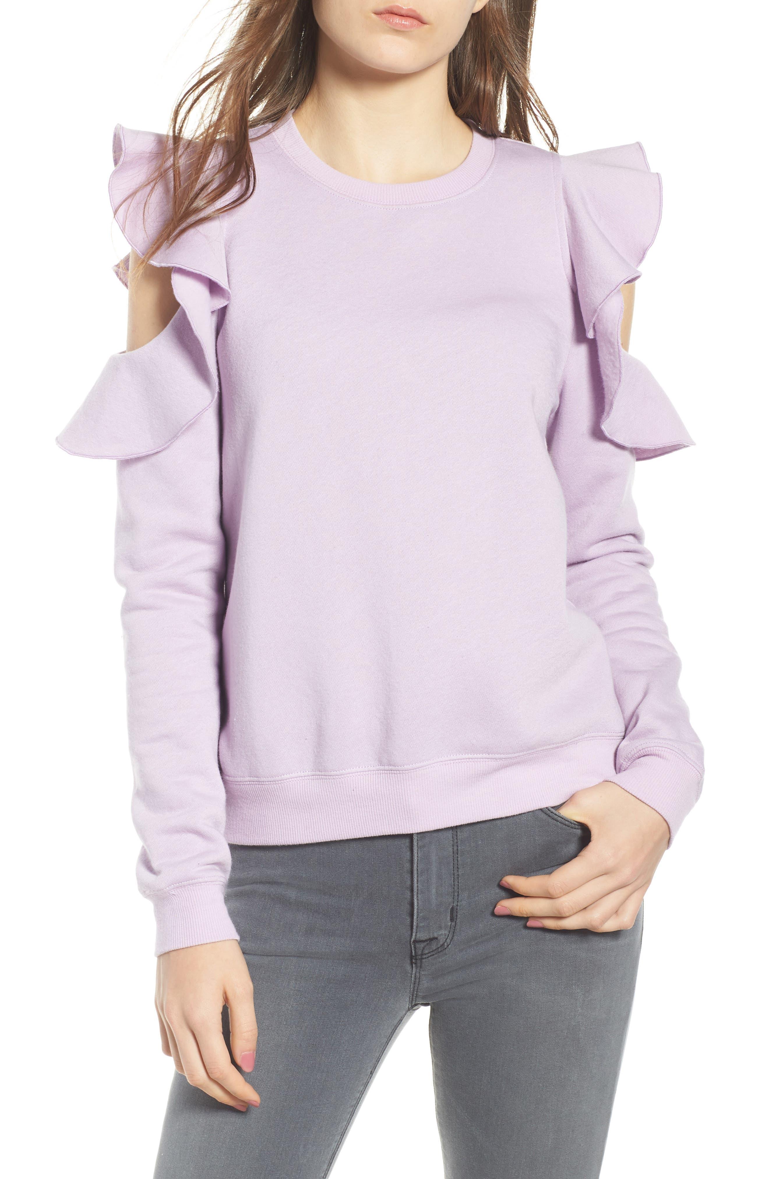 REBECCA MINKOFF, Gracie Cold Shoulder Sweatshirt, Main thumbnail 1, color, 502