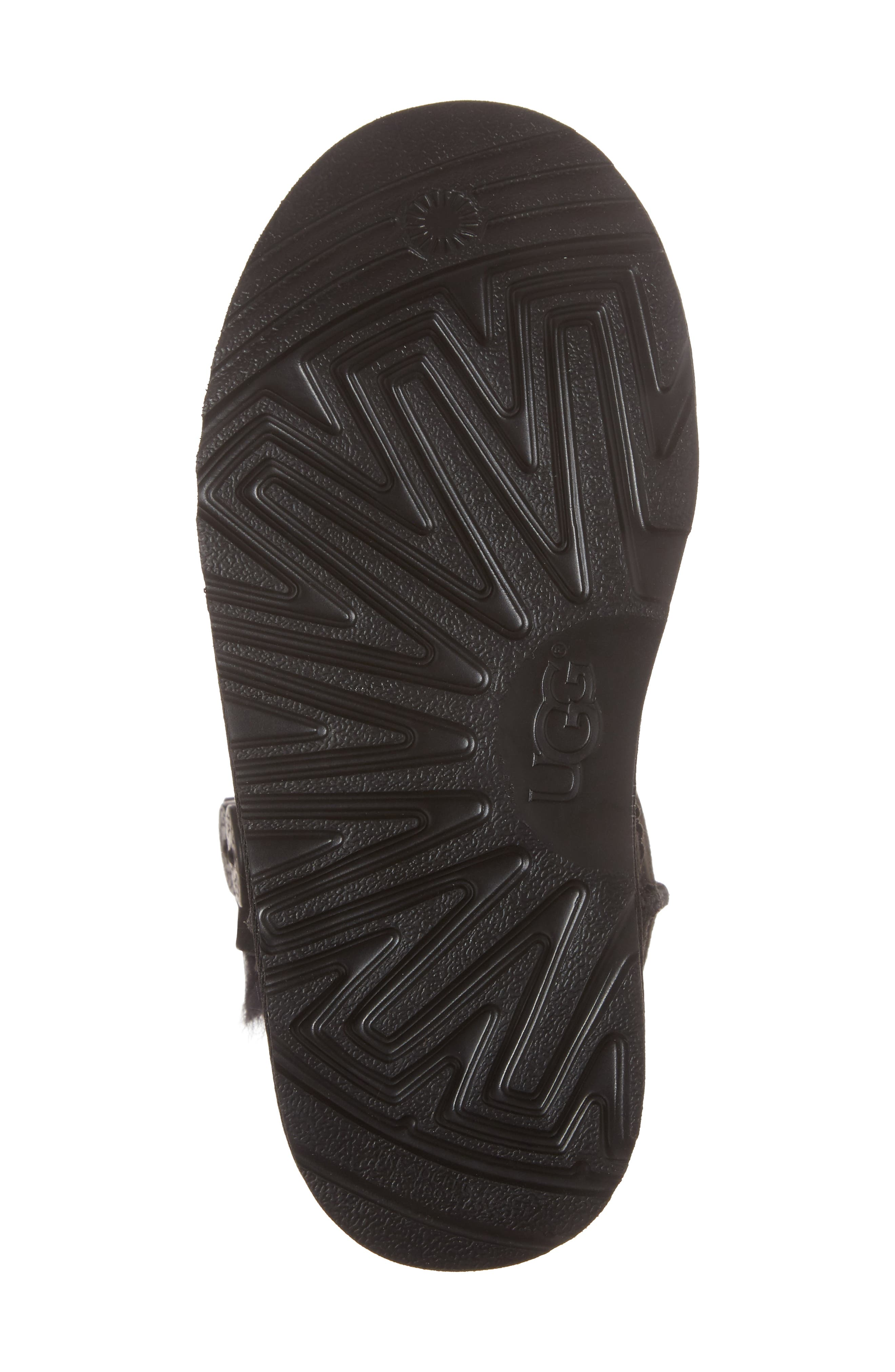 UGG<SUP>®</SUP>, Bailey Button Triplet II Genuine Shearling Boot, Alternate thumbnail 6, color, BLACK SUEDE