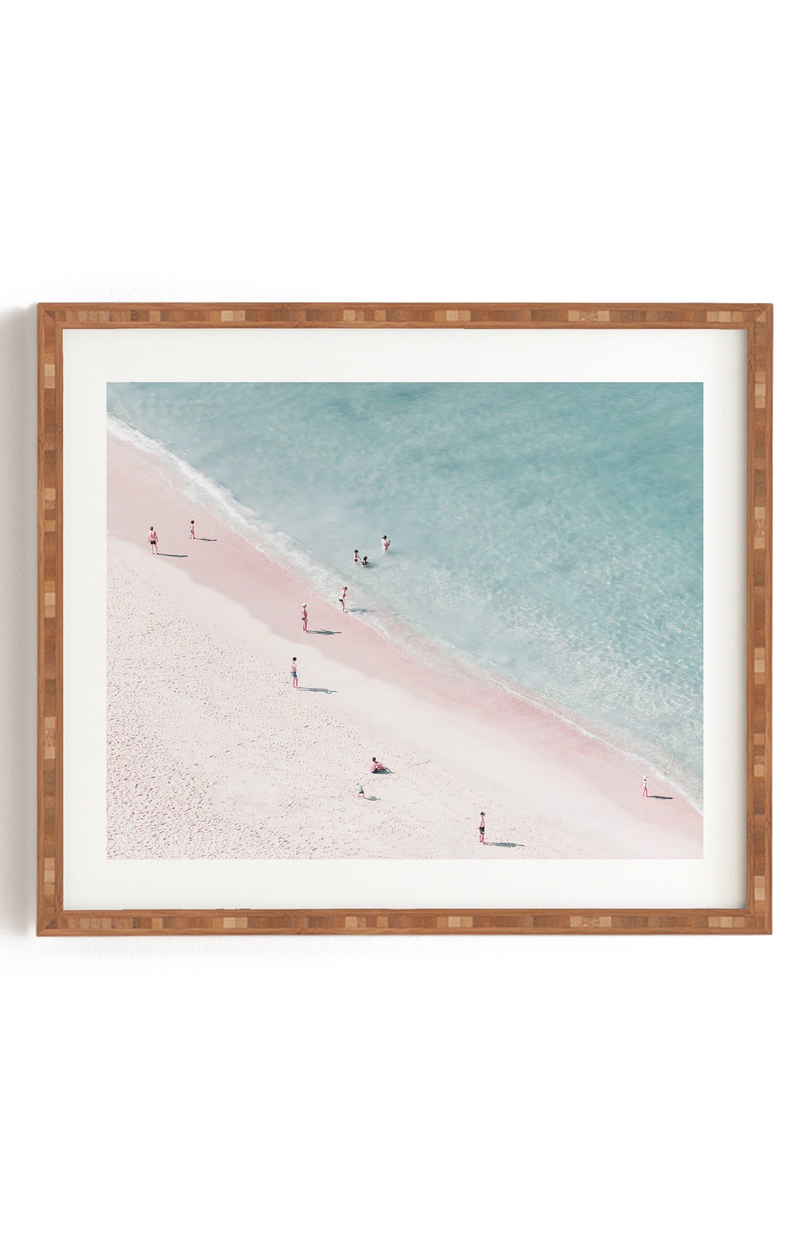 DENY DESIGNS Ingrid Beddoes - Beach Summer of Love Framed Wall Art, Main, color, PINK