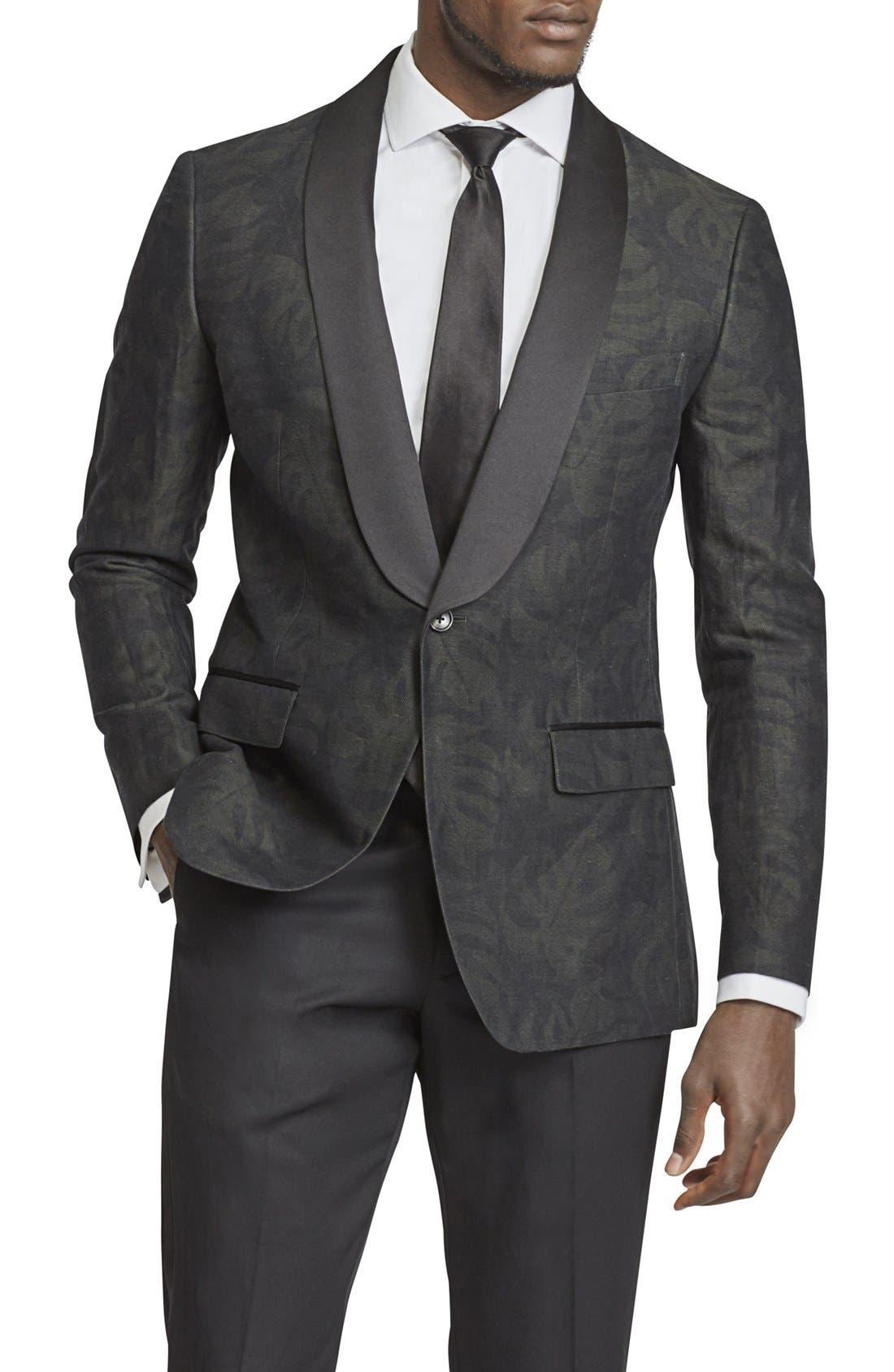 BONOBOS Trim Fit Linen & Cotton Print Dinner Jacket, Main, color, 001