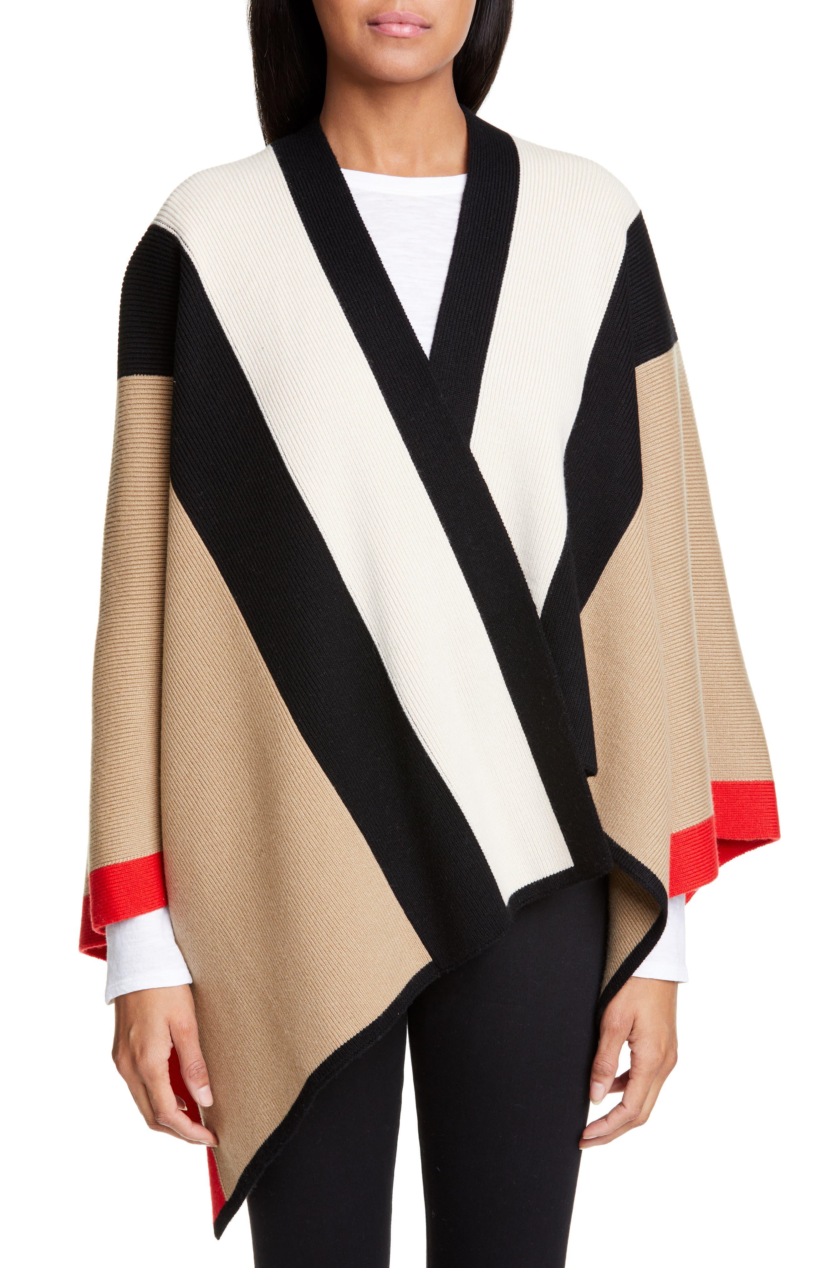 BURBERRY, Stripe Wool & Cashmere Cape, Main thumbnail 1, color, CAMEL