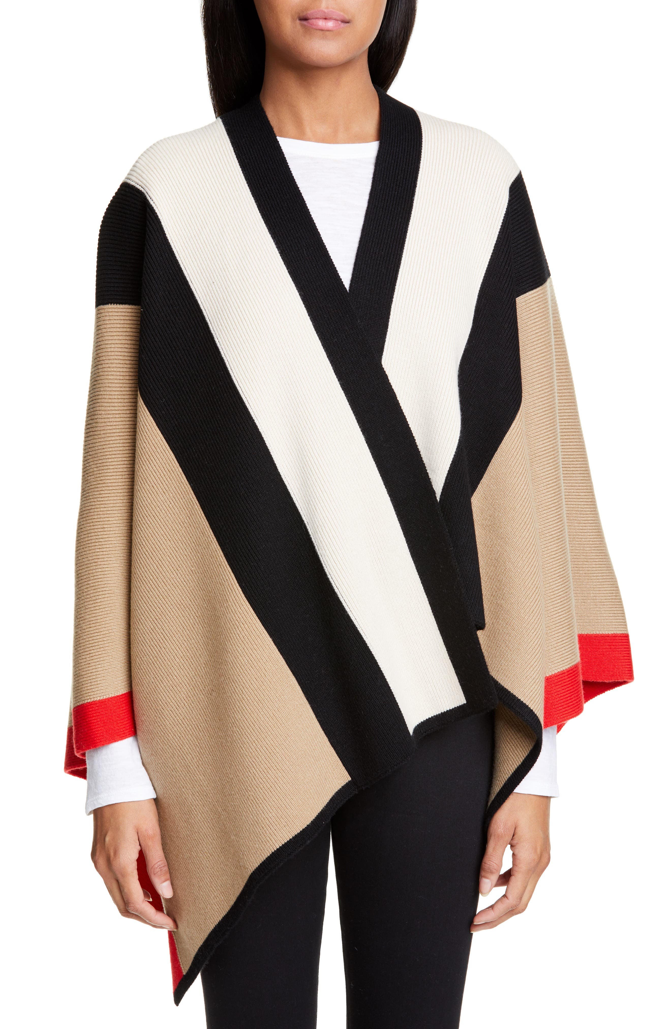 BURBERRY Stripe Wool & Cashmere Cape, Main, color, CAMEL