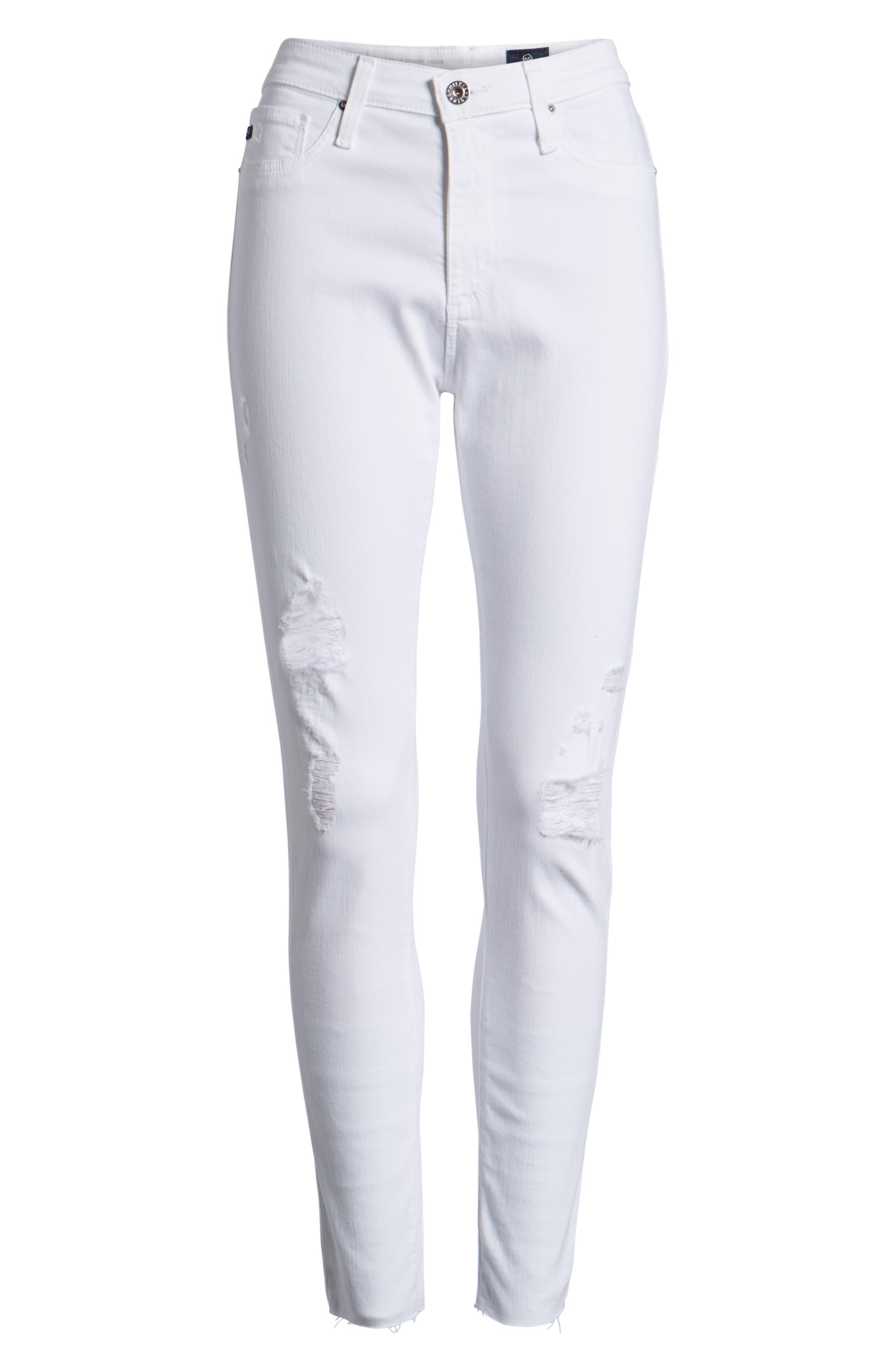 AG, The Farrah High Waist Ankle Skinny Jeans, Alternate thumbnail 7, color, UNCHARTED WHITE