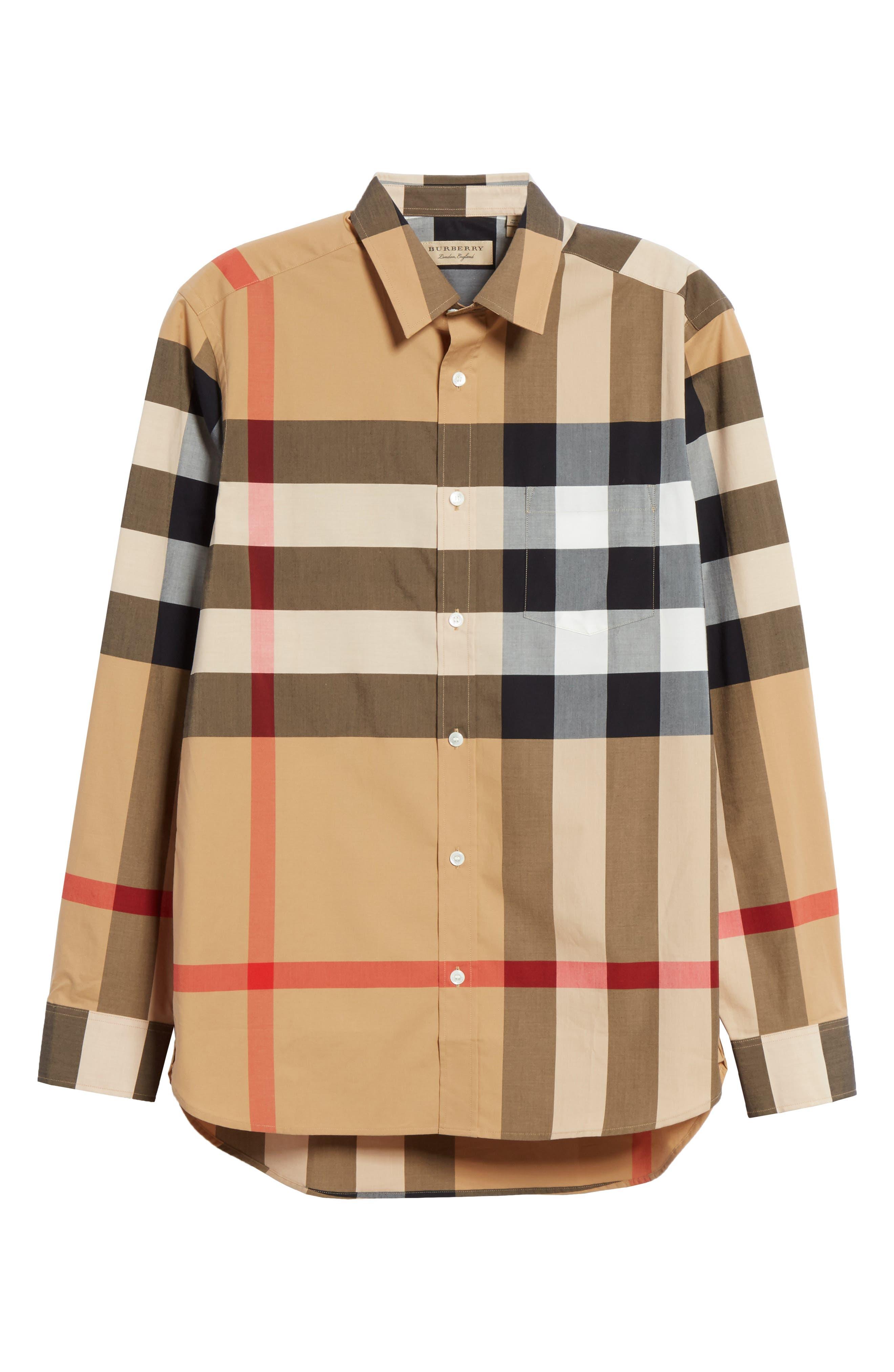 BURBERRY, Windsor Check Sport Shirt, Alternate thumbnail 6, color, CAMEL