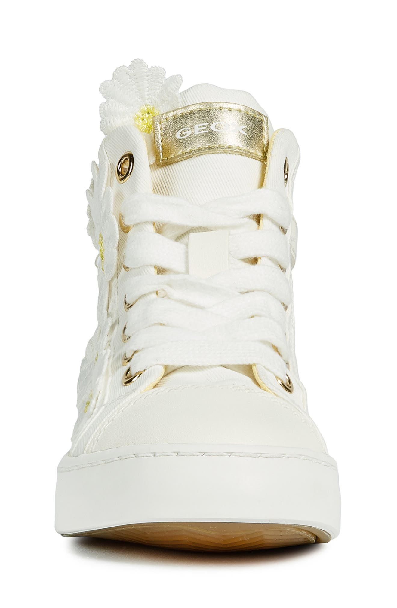 GEOX, Ciak Daisy Appliqué High Top Sneaker, Alternate thumbnail 4, color, WHITE