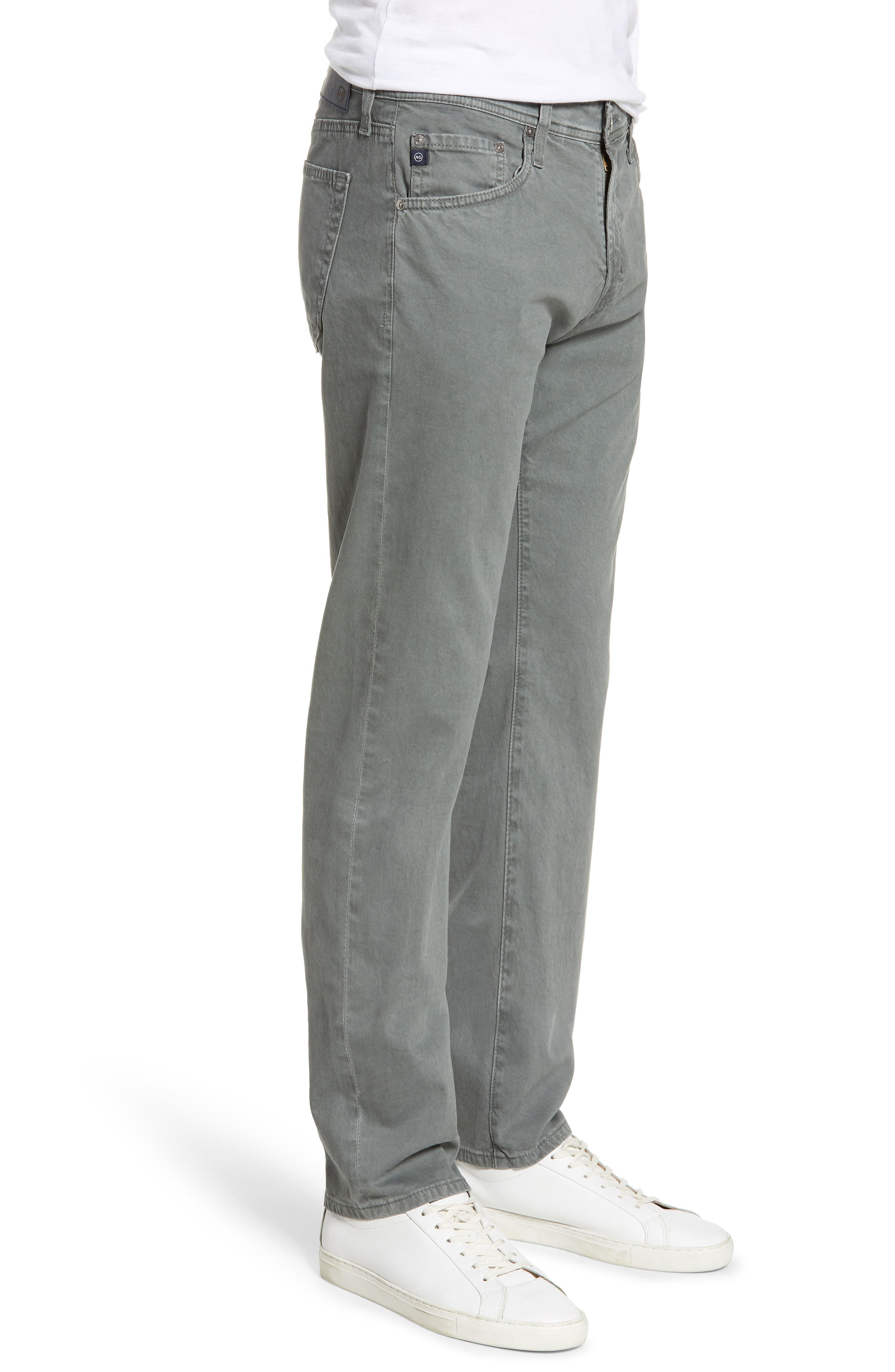 AG, Tellis SUD Modern Slim Stretch Twill Pants, Alternate thumbnail 4, color, SULFUR FOG BEACON